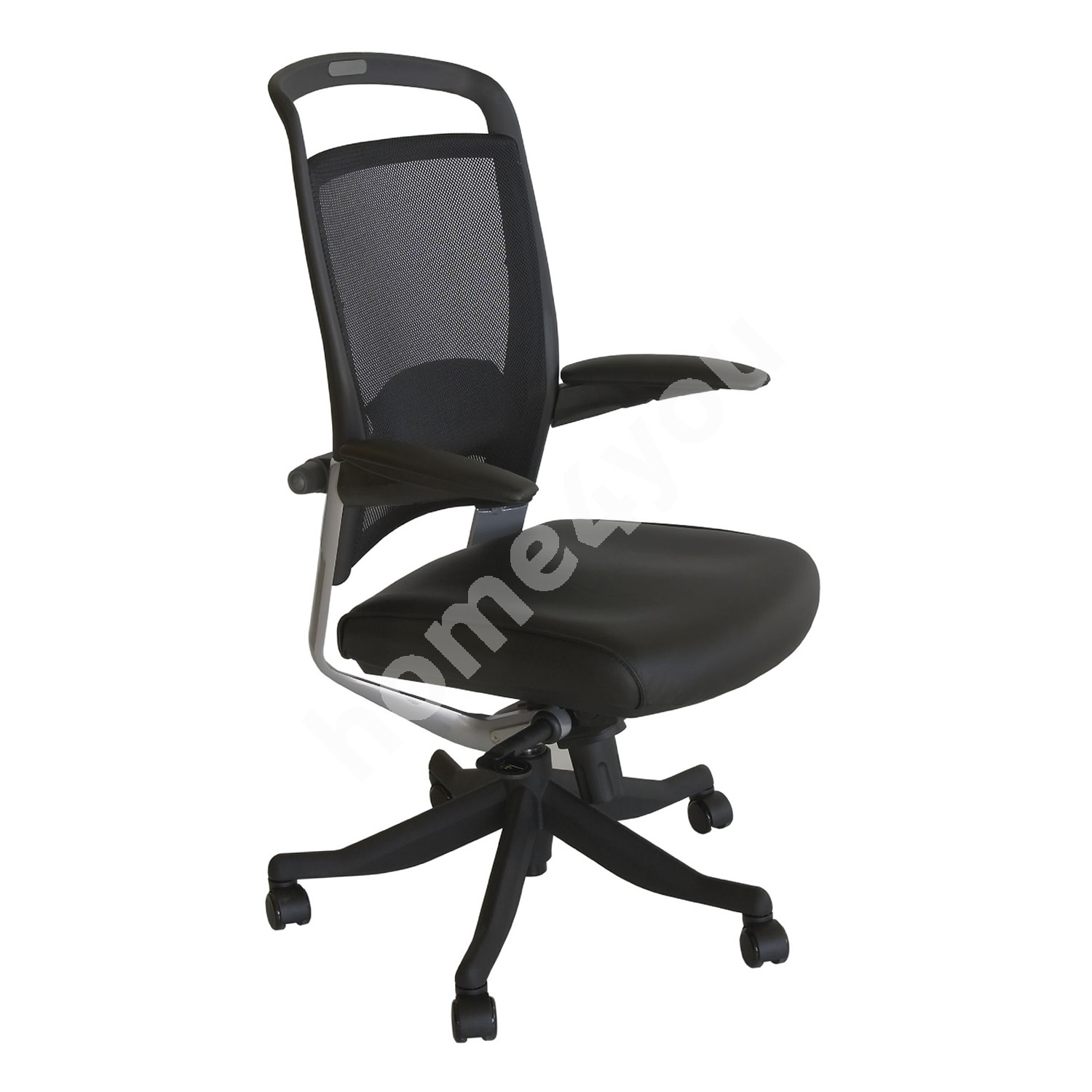 Task chair FULKRUM 50xD51xH110-117cm, seat: leather, back rest: mesh, color: black