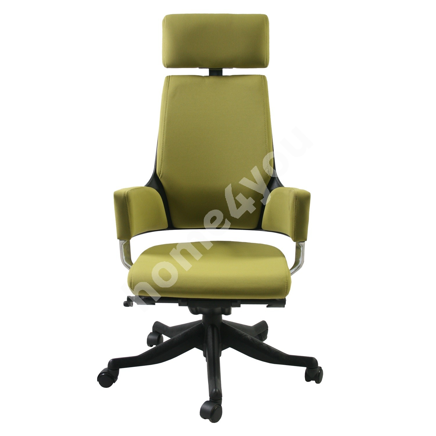 Task chair DELPHI with headrest, 60xD47xH116-128,5cm, seat and back rest: fabric, color: olive green