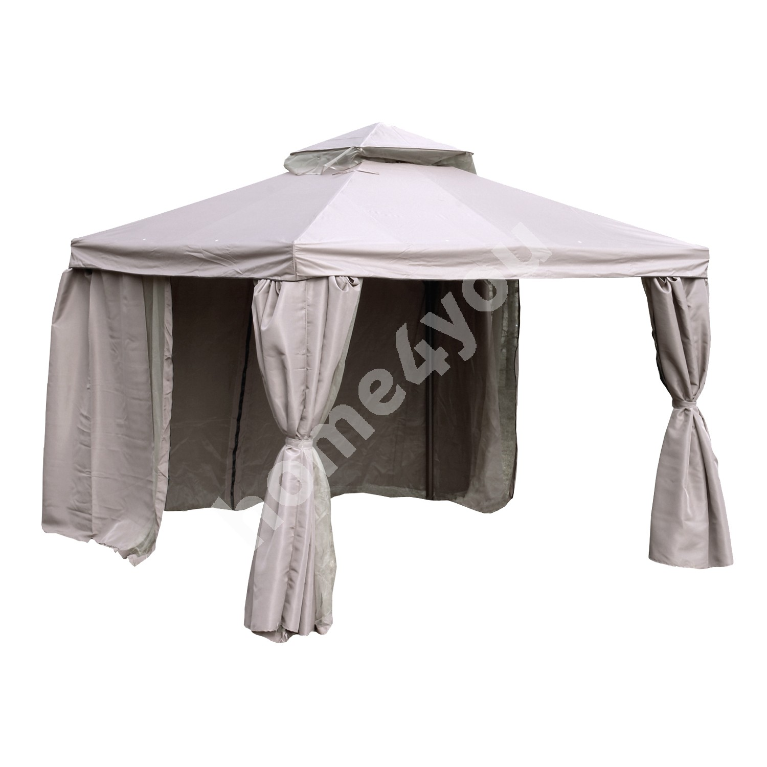 Gazebo LEGEND 3x4m, aluminum frame, roof and side walls: polyester fabric, color: beige,