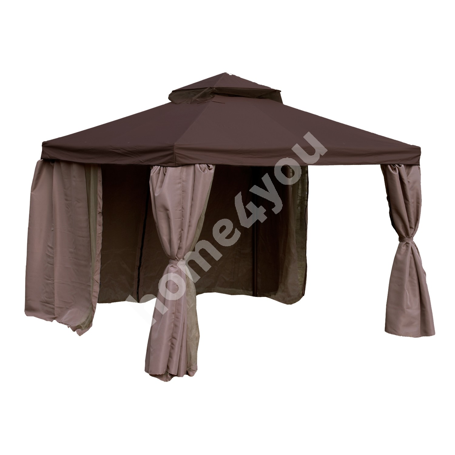 Gazebo LEGEND 3x4m, aluminum frame, roof and side walls: polyester fabric, color: dark brown-beige