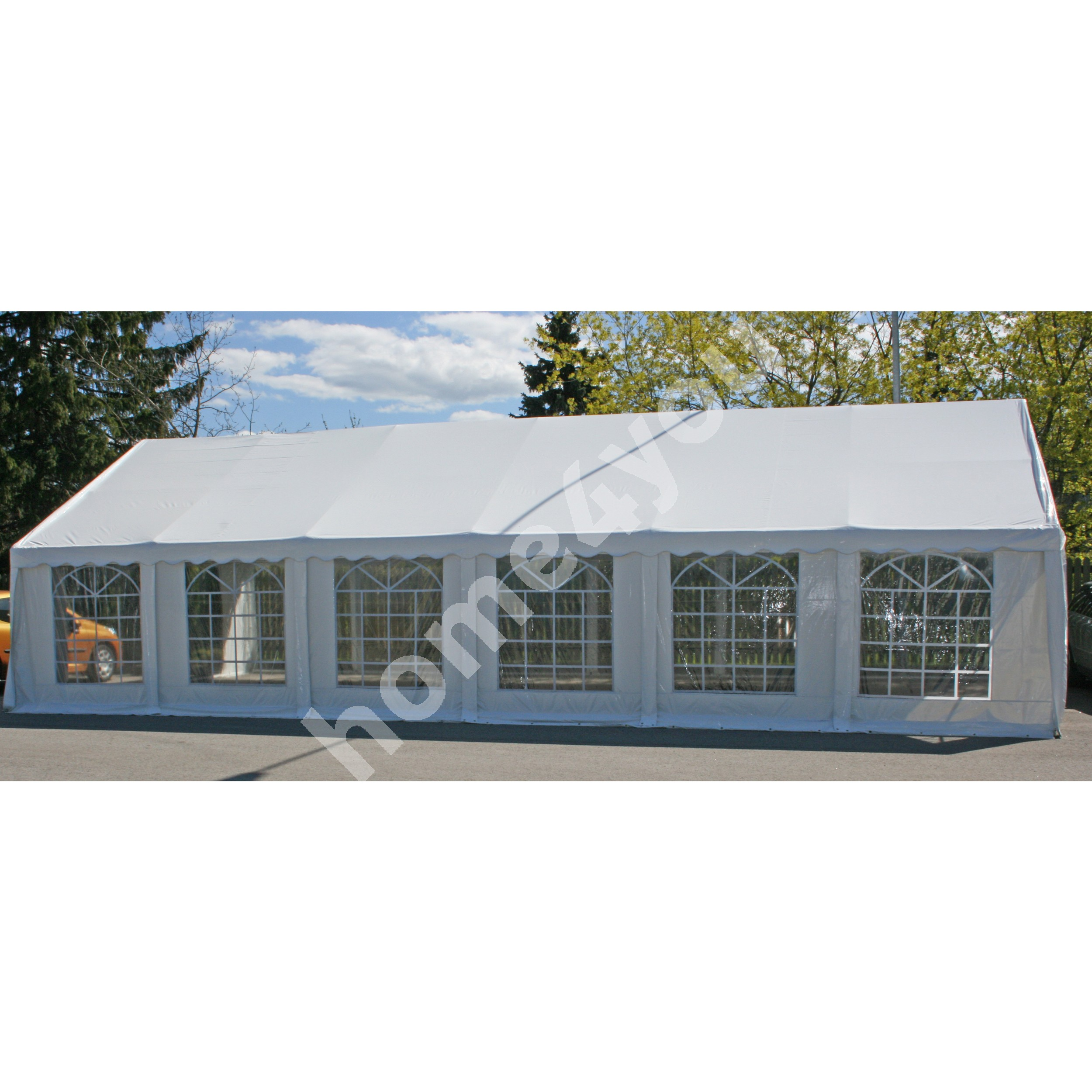 Party tent 6x12m, steel frame, cover: polyethylene, color: white