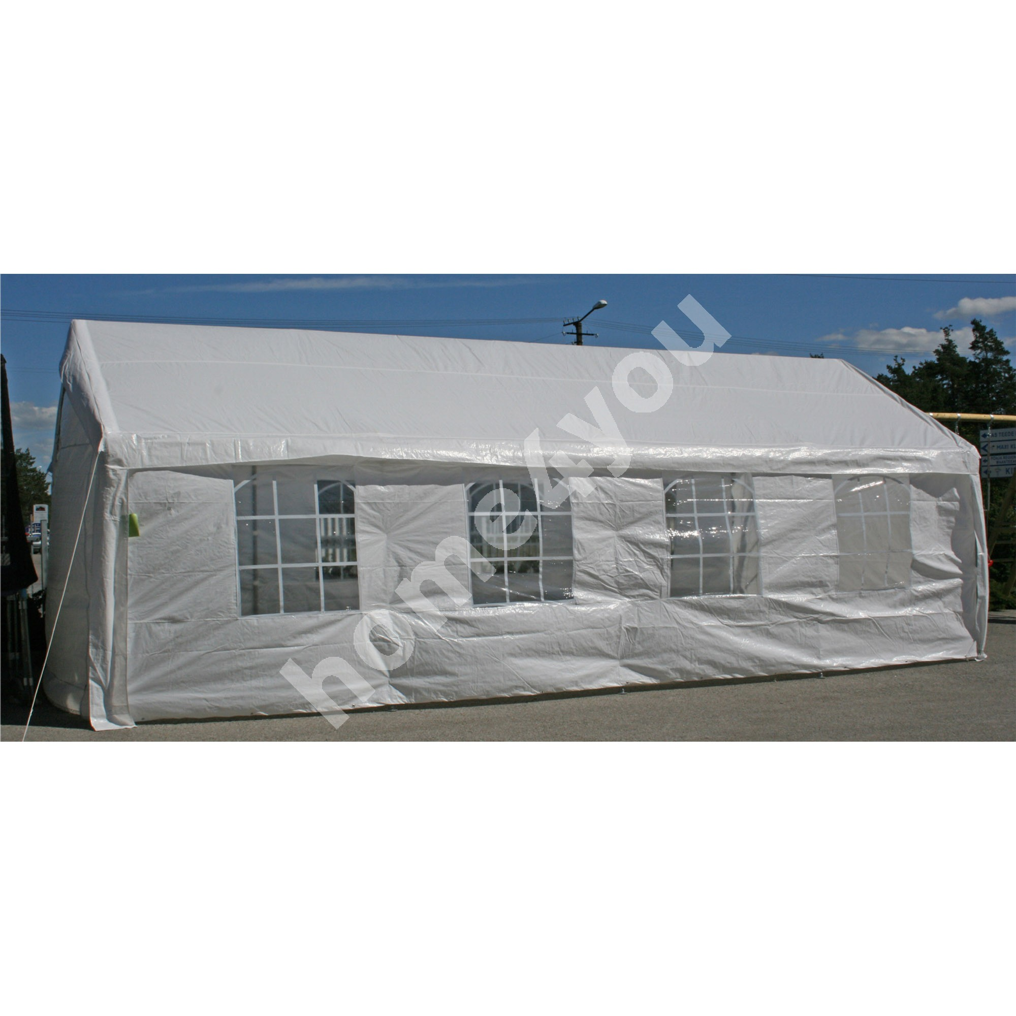 Party tent 4x8m, steel frame, cover: polyethylene, color: white