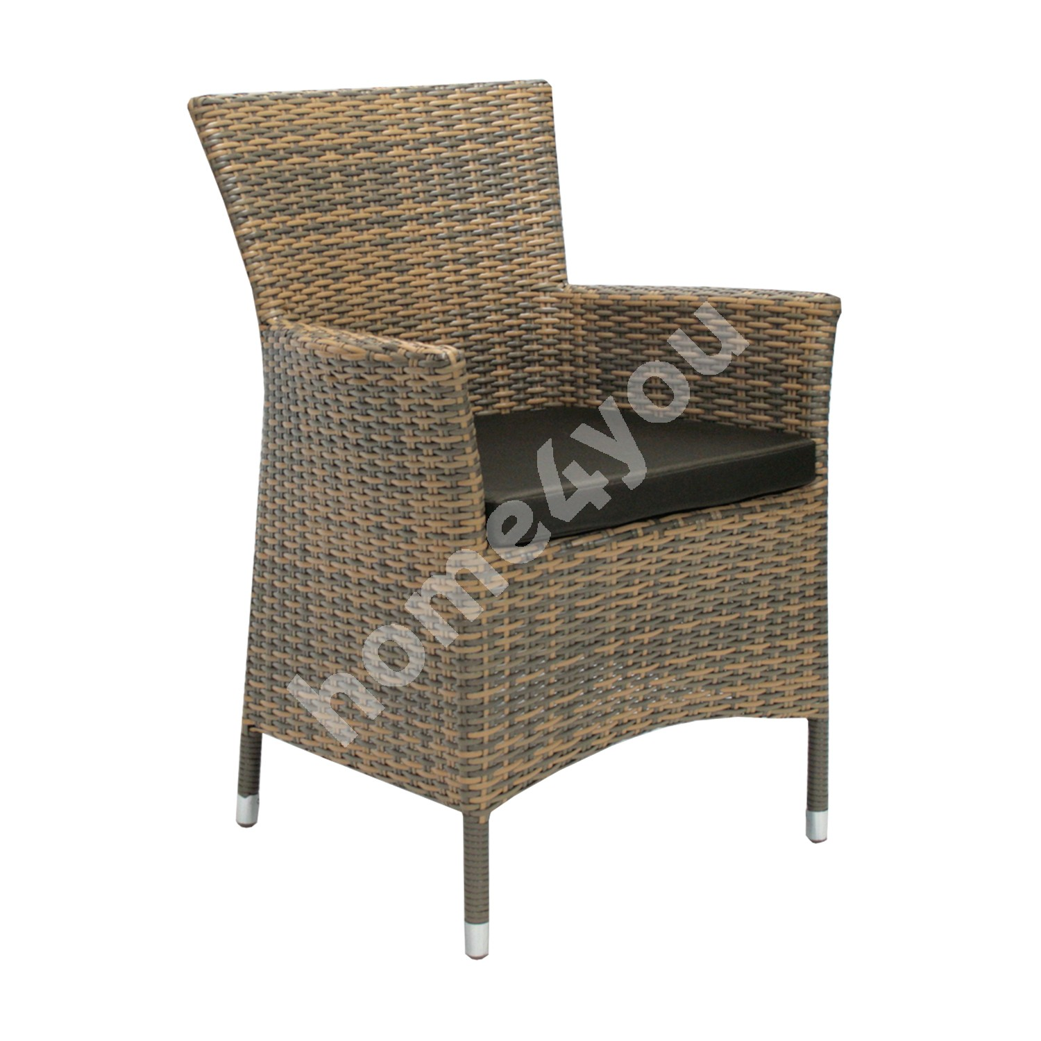 Chair WICKER-1 with cushion 61x58xH86cm, aluminum frame with plastic wicker, color: cappuccino