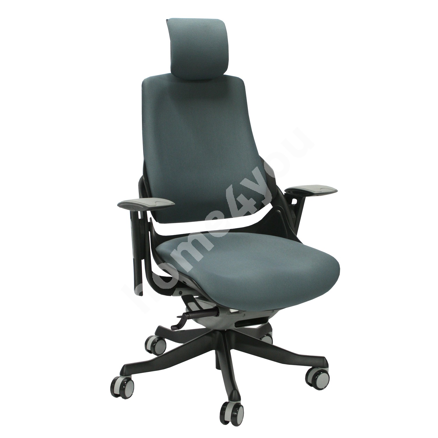 Task chair WAU with headrest, 65xD49xH112-129cm, seat: fabric, color: slate grey, black outer shell