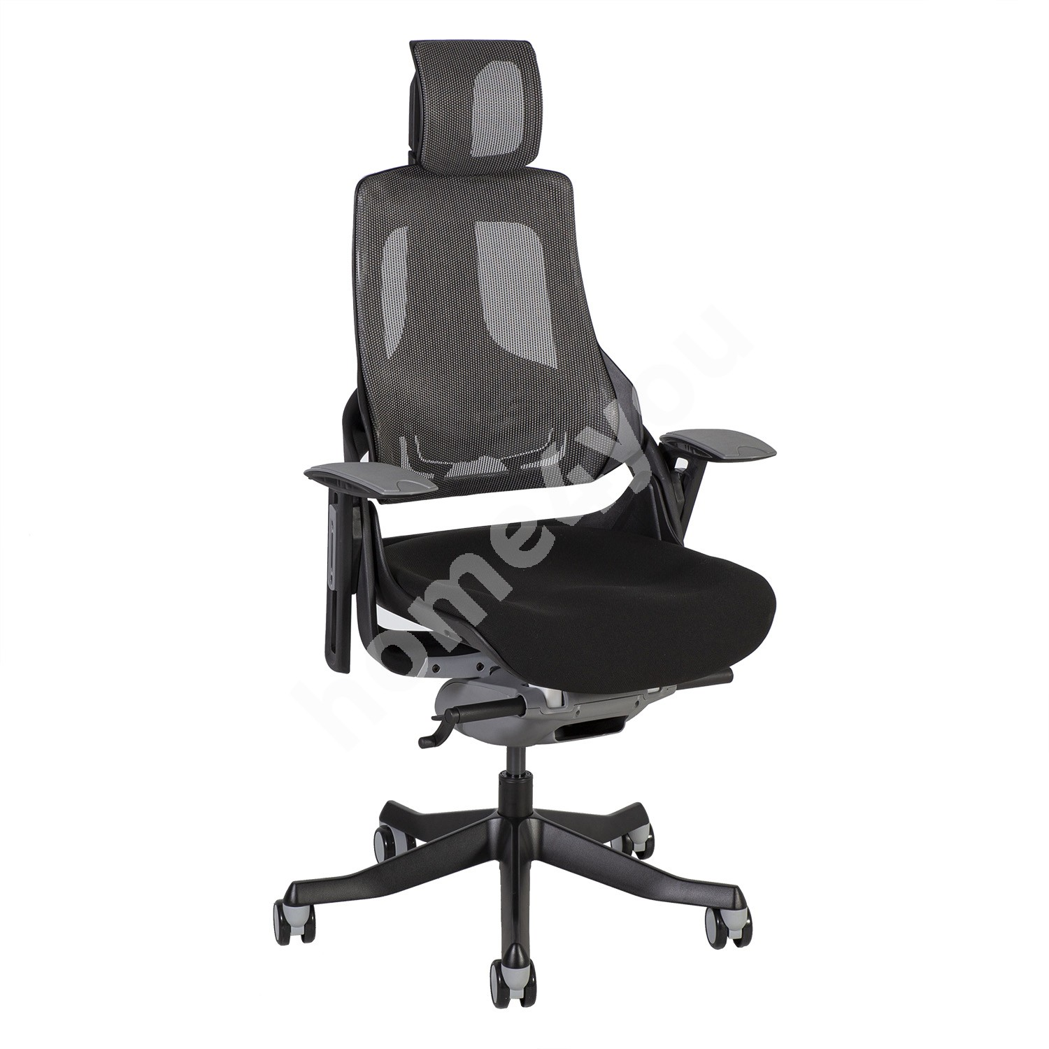 Task chair WAU with headrest 65xD49xH112-129cm, seat: black fabric, backrest: grey mesh fabric, black outer shell