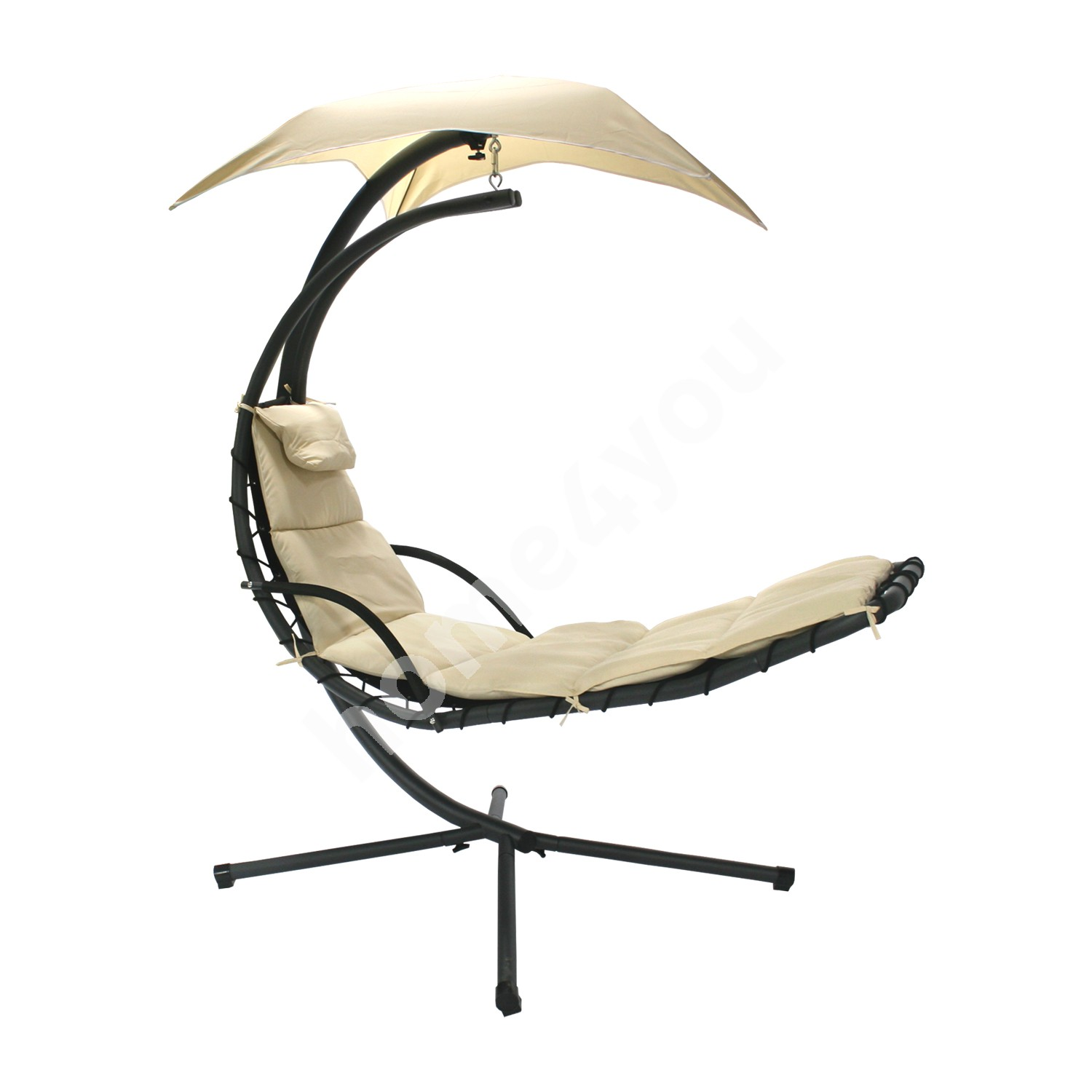 Hanging chair DREAM with awning, H205cm, color: beige