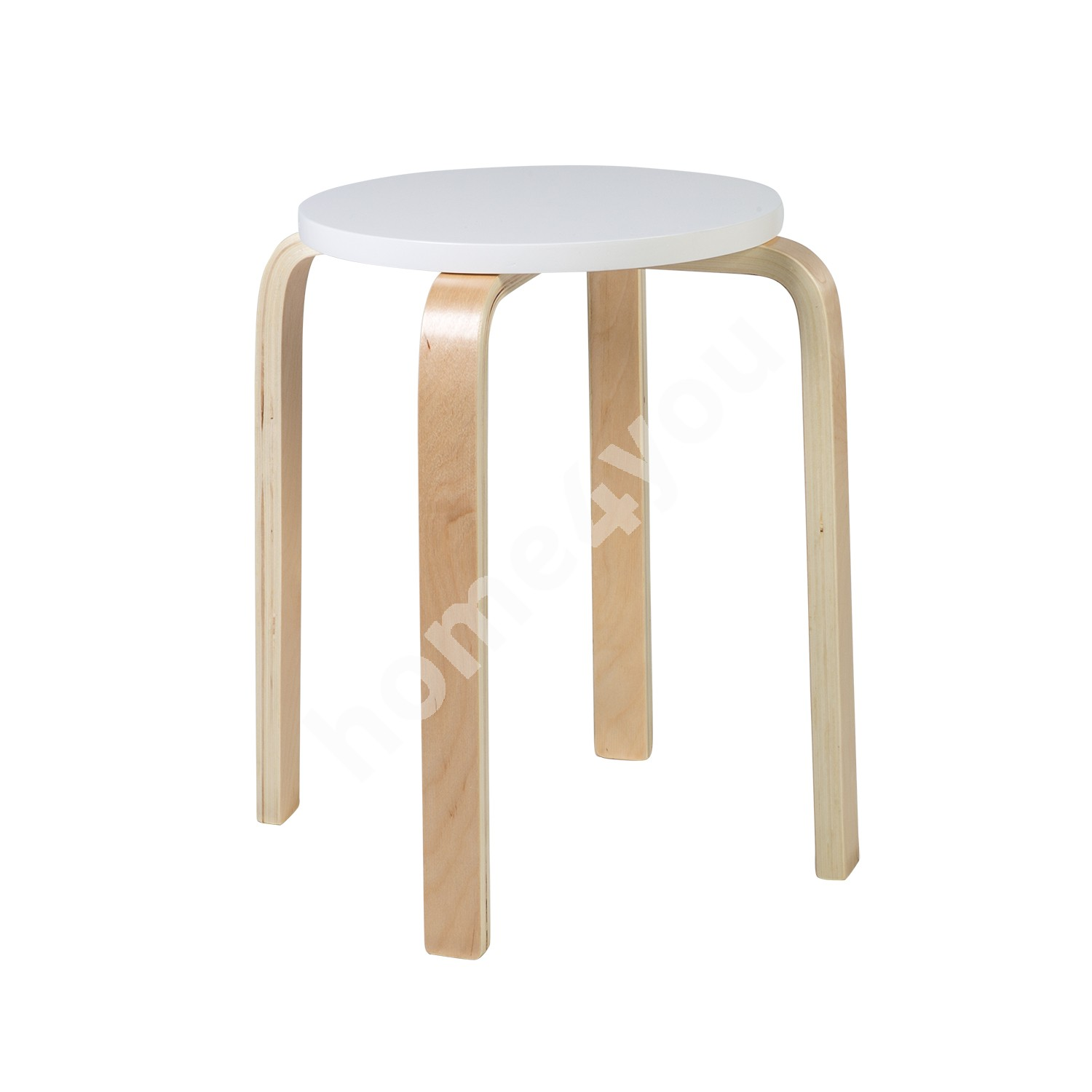 Stool SIXTY-1  D41xH45cm, material: glulam with birch veneer, color: white - natural