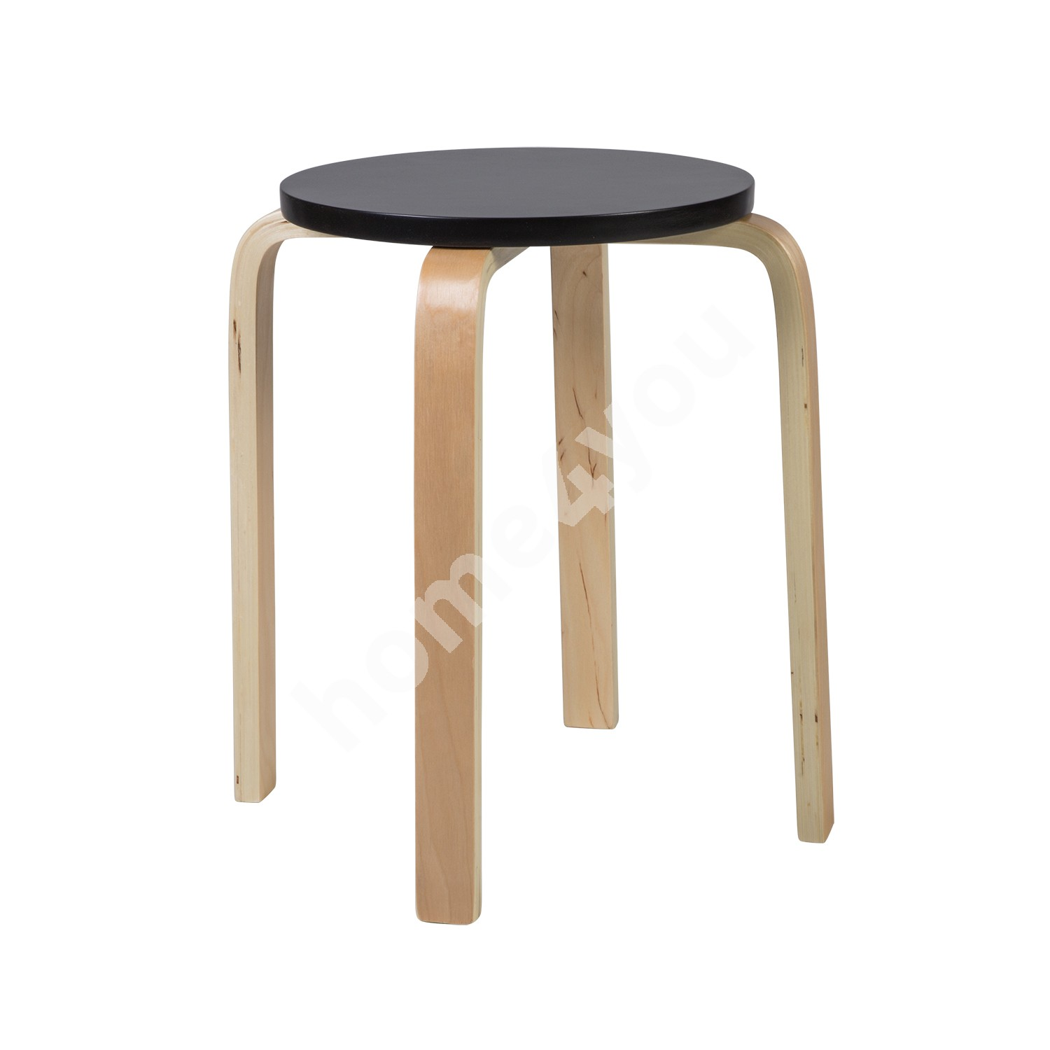 Stool SIXTY-1  D41xH45cm, material: glulam with birch veneer, color: black - natural