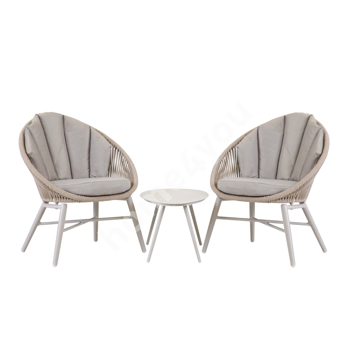 Balcony set SHELLY table and 2 chairs with cushions, aluminum frame with textiline rop, greyish beige
