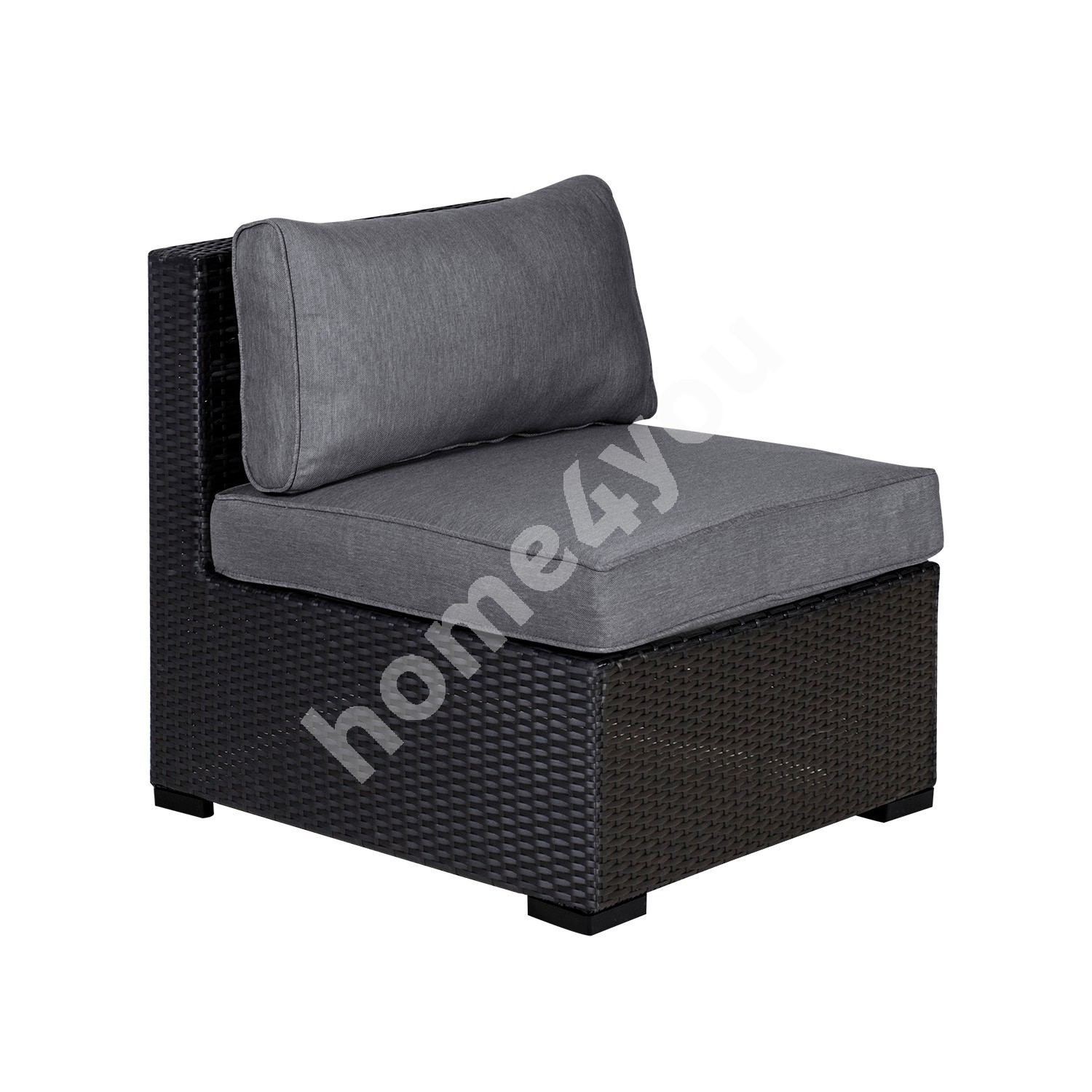 Module sofa SEVILLA with cushions, middle part, 67x76,5xH74,5cm, aluminum frame with plastic wicker, color: black