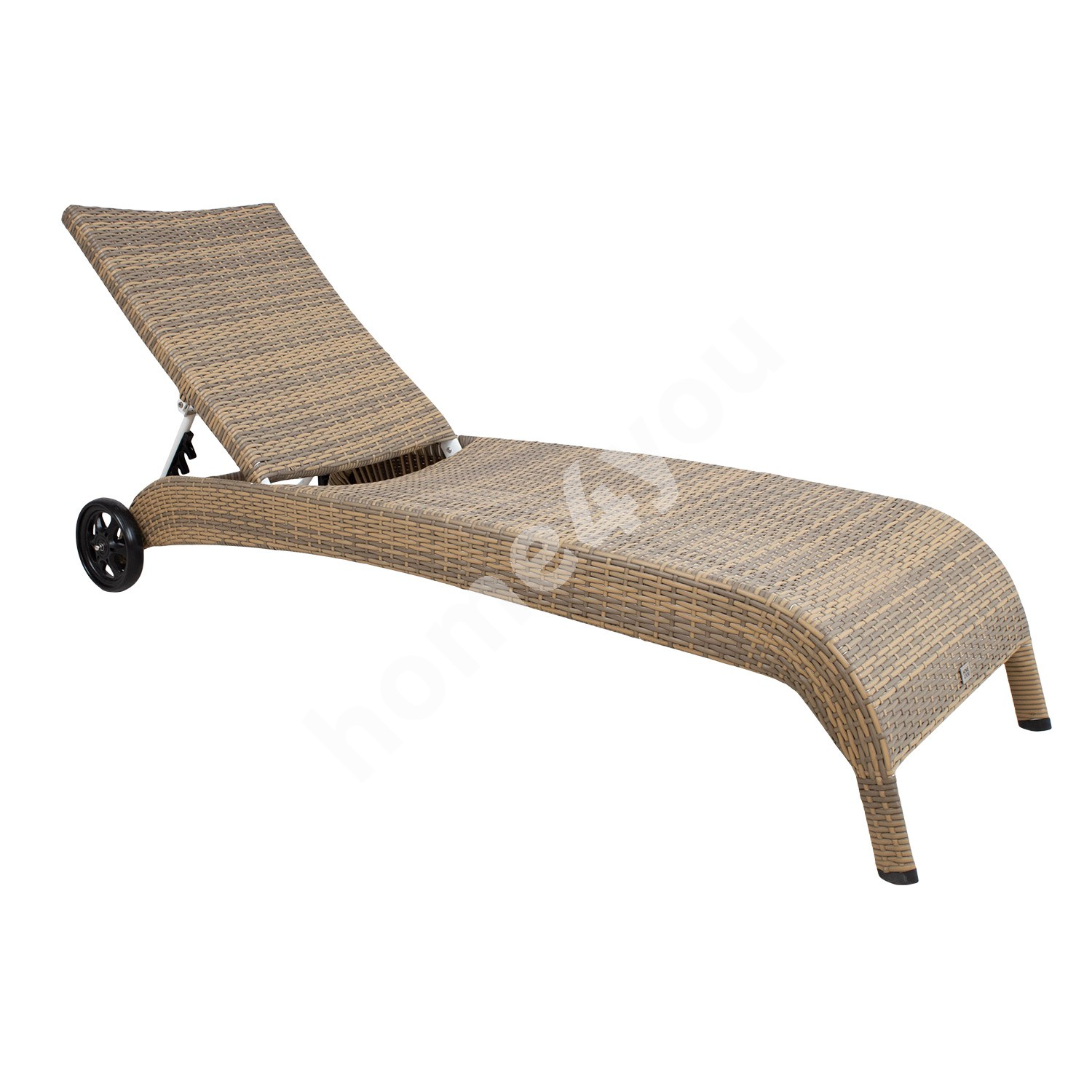 Deck chair WICKER, 73x196x99cm, aluminum frame with plastic wicker, color: cappuccino