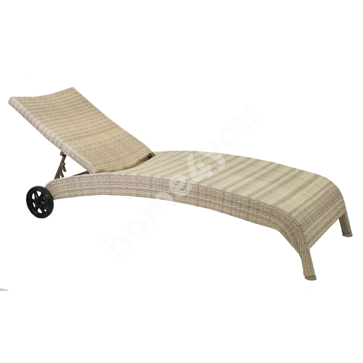 Deck chair WICKER 73x196x99cm, aluminum frame with plastic wicker, color: beige