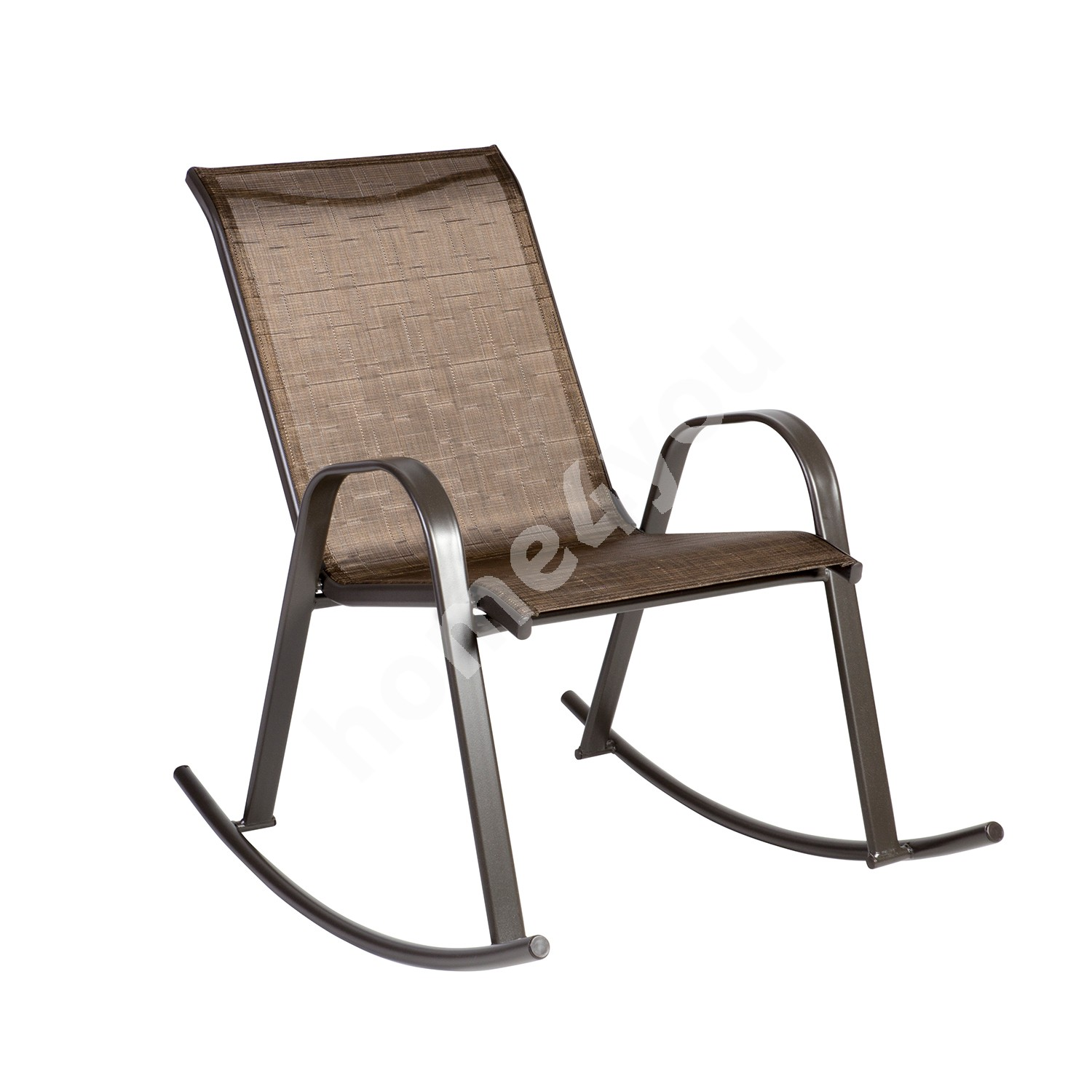 Rocking chair DUBLIN 90x63xH91cm, seat and back rest: textiline, color: golden brown, steel frame, color: dark brown