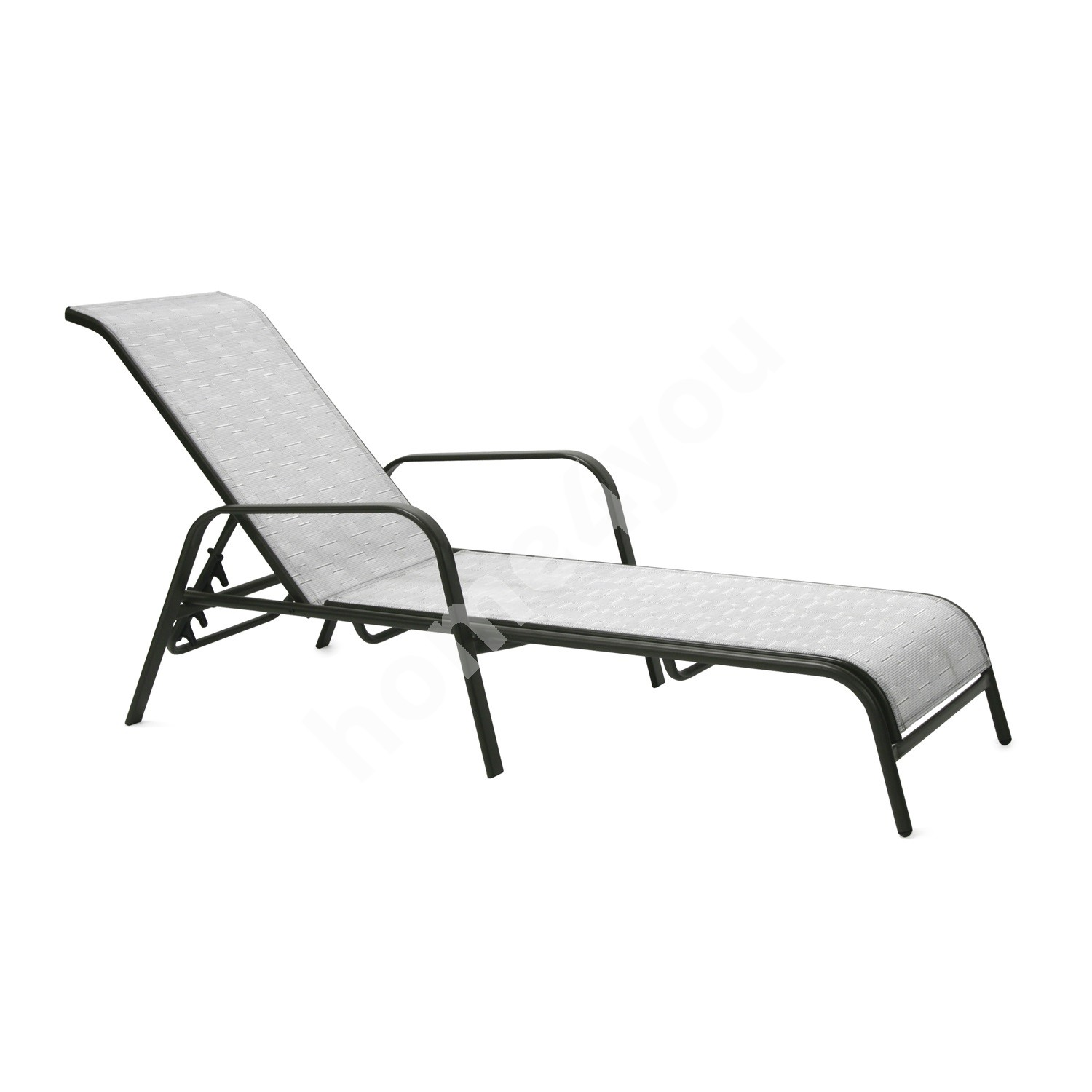 Deck chair DUBLIN 161x66,5xH48/100cm, seat and back rest: textiline, color: silver grey, steel frame, color: dark brown