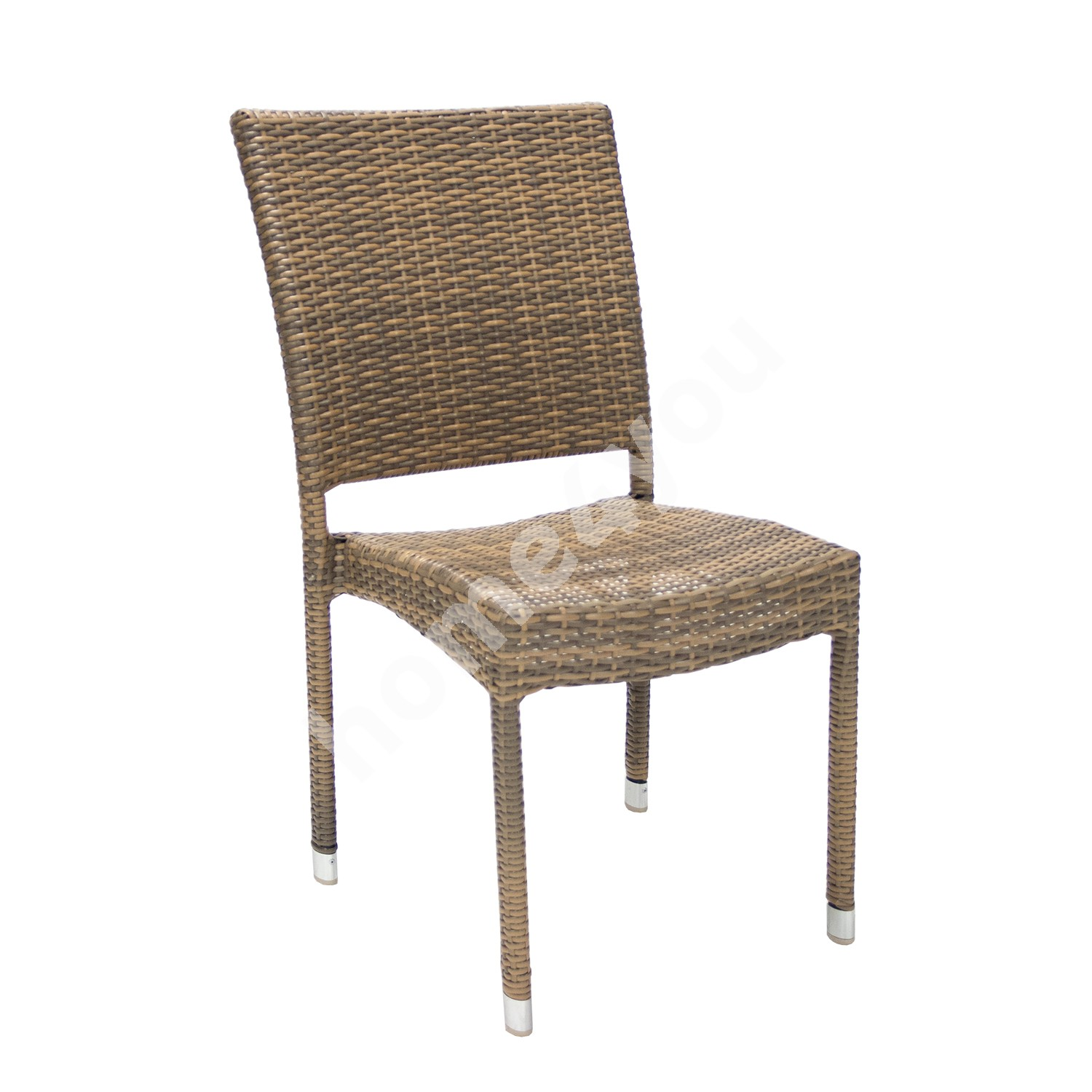 Chair WICKER-3 60x49,5xH92,5cm, aluminum frame with plastic wicker, color: cappuccino