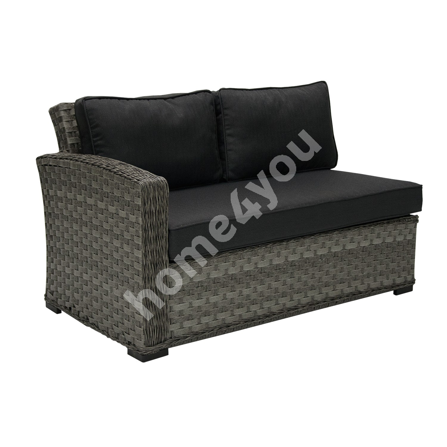 Module sofa GENEVA with cushions, with left arm 81x132x78cm, aluminum frame with plastic wicker, color: dark grey