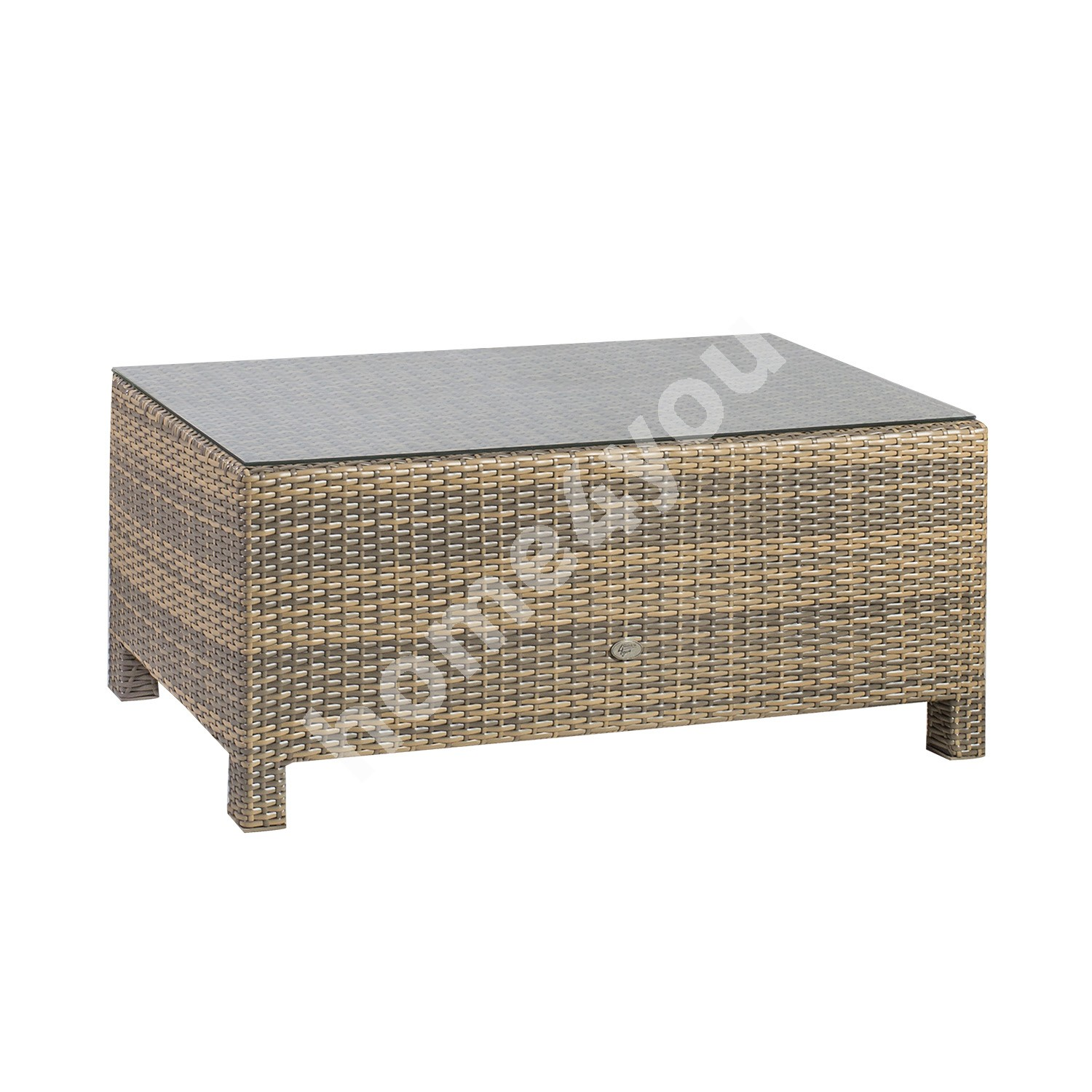 Coffee table SEVILLA 102x50,5xH43,5cm, table top: 5mm clear glass, aluminum frame with plastic wicker, color: cappuccino