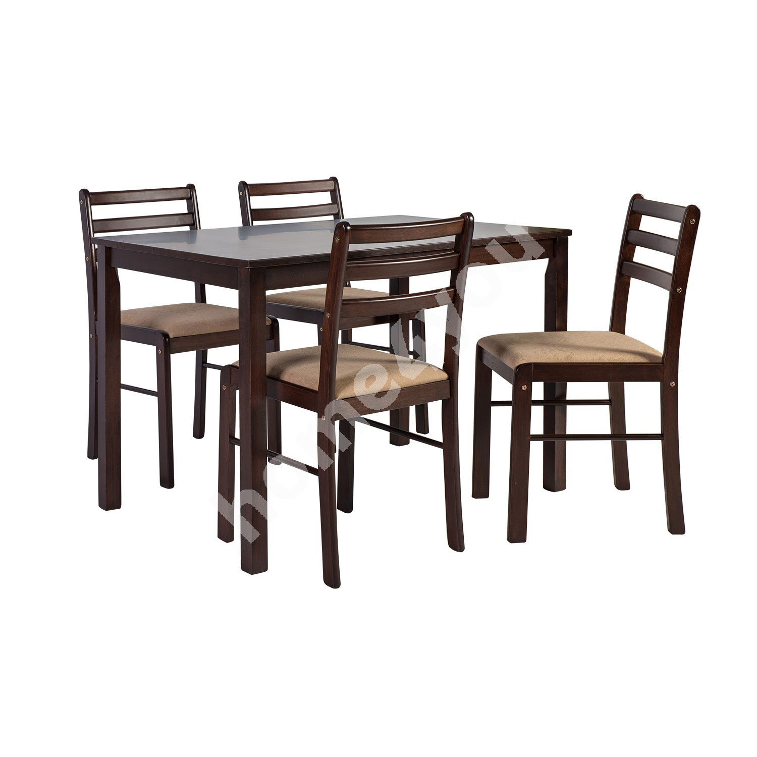 Dining set VINCENT with 4-chairs, 110x72xH75cm, wood: rubber wood, color: espresso, finish: lacquered