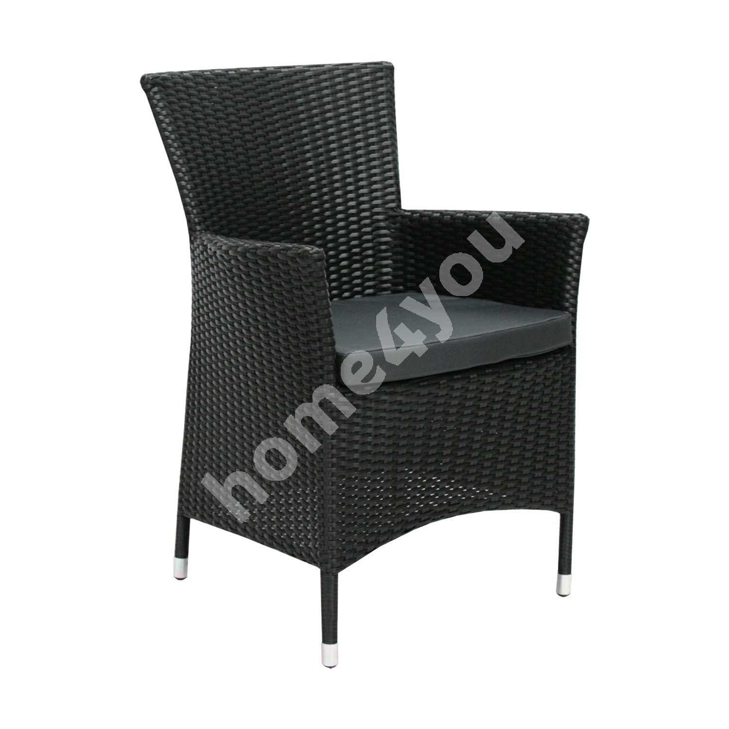 Chair WICKER-1 with cushion 61x58xH86cm, aluminum frame with plastic wicker, color: black