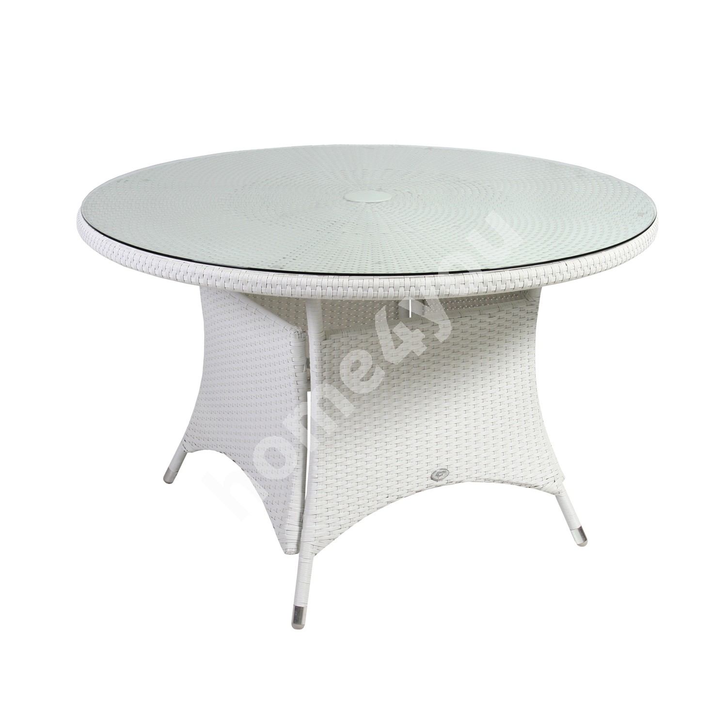 Table WICKER D123,5xH74,5cm, table top: glass, aluminum frame with plastic wicker, color: white