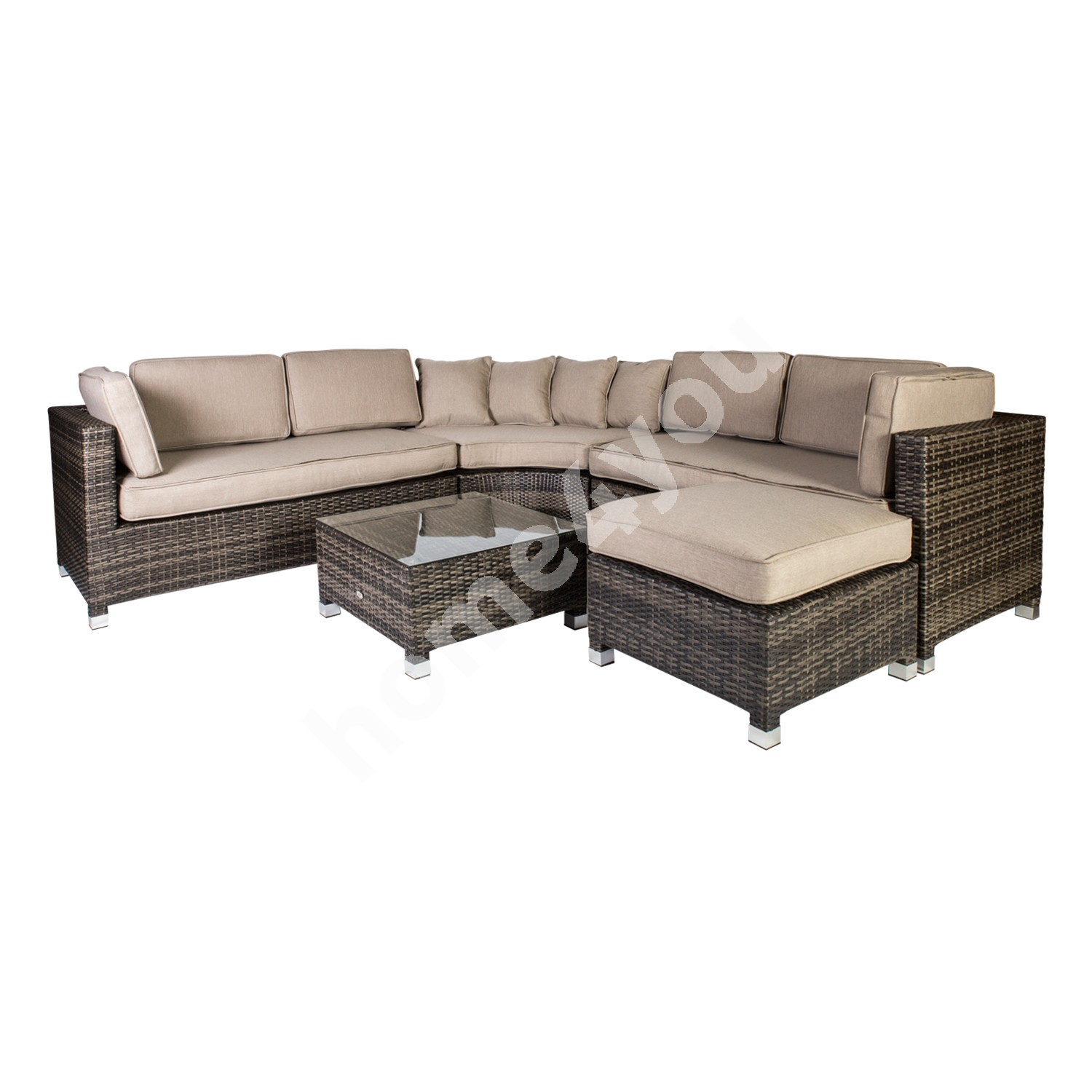 Set DAWSON with cushions, table, corner sofa and ottoman, steel frame with plastic wicker, color: dark brown