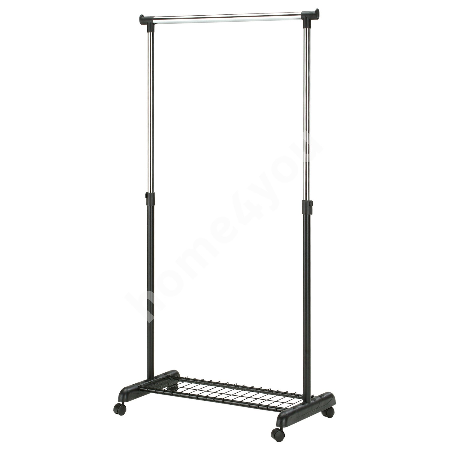 Clothes hanger FRANK with shoe rack on wheels 83x43x93,5-168cm, color: black-chrome