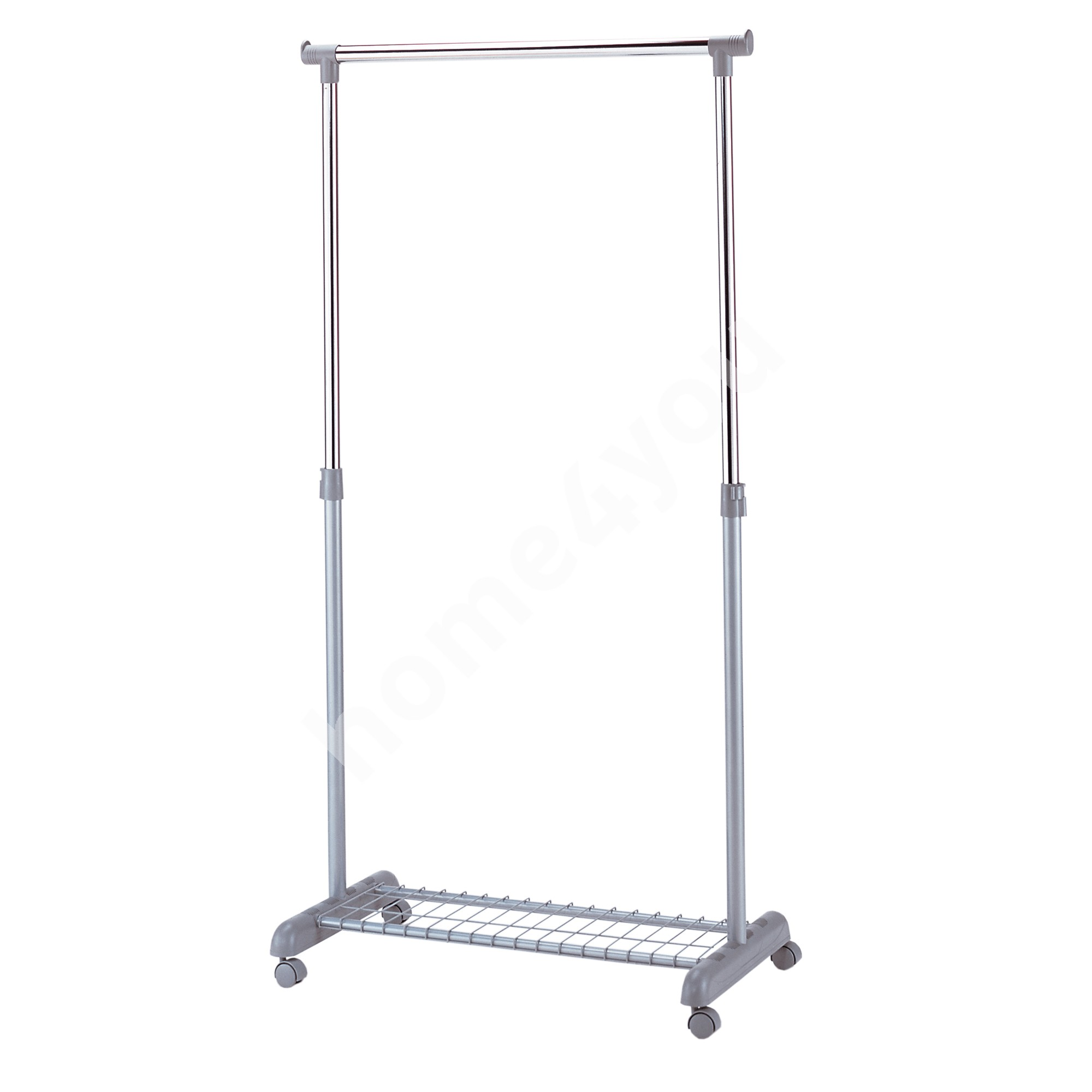 Clothes hanger FRANK with shoe rack on wheels 83x43x93,5-168cm, color: silver-chrome