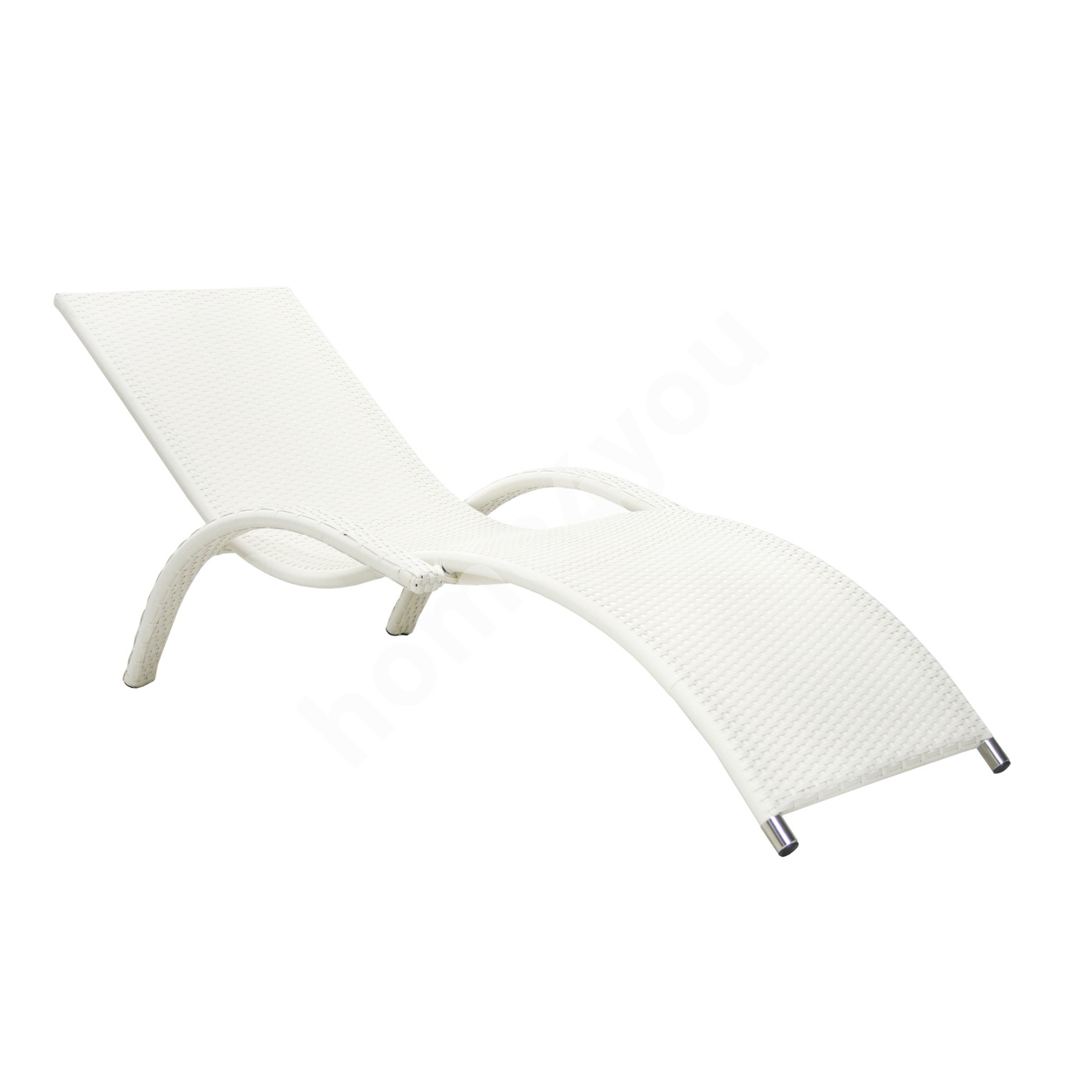 Deck chair MERIDIAN, 180x75x73cm, aluminum frame with plastic wicker, color: white