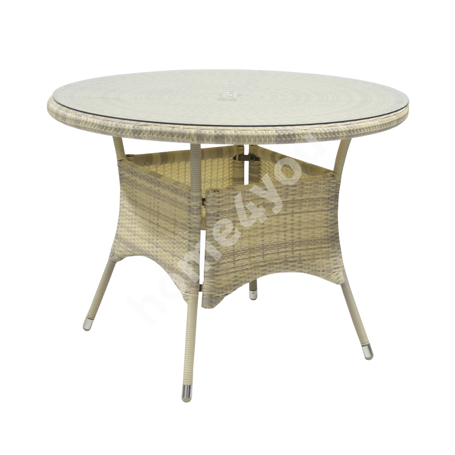 Table WICKER D100xH71cm, table top: clear glass, aluminum frame with plastic wicker, color: beige