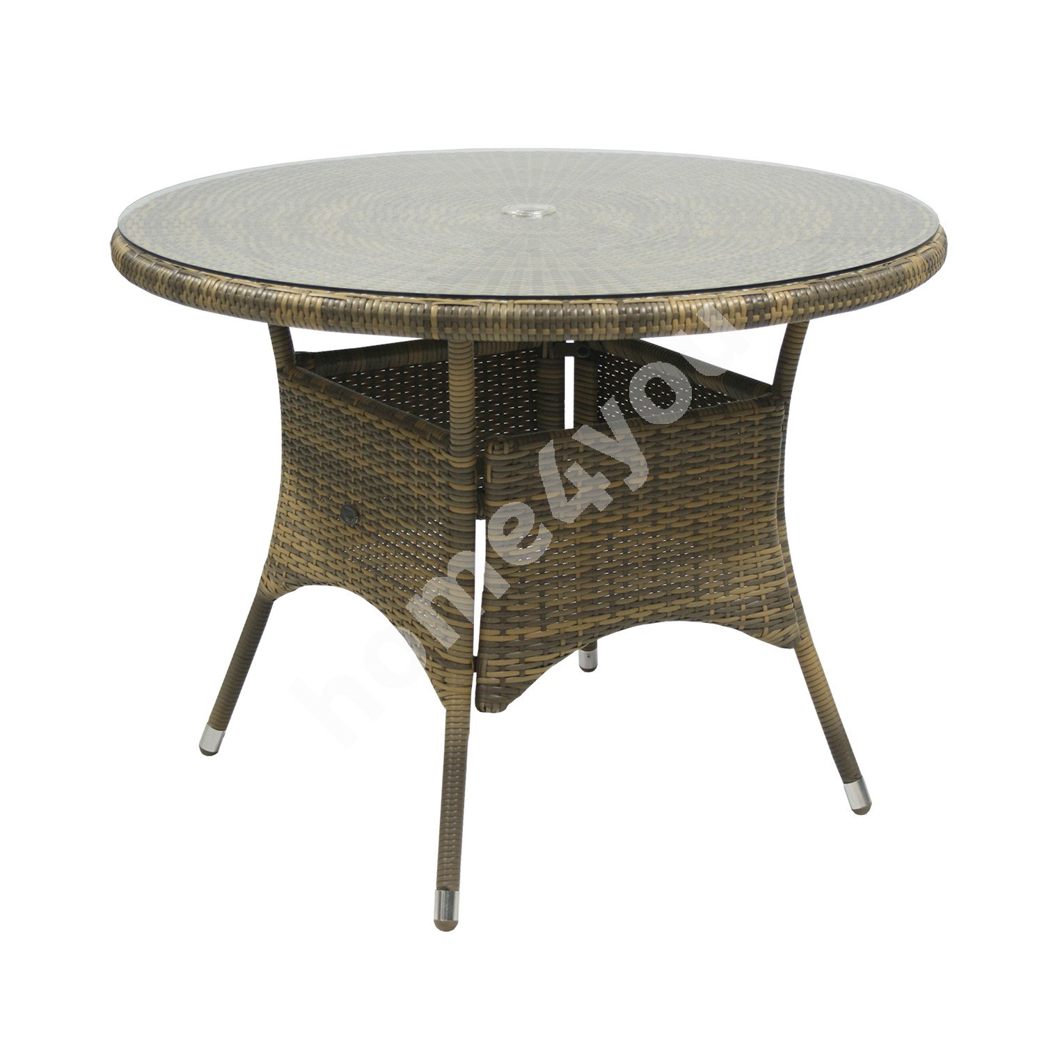Table WICKER D100xH71cm, table top: clear glass, aluminum frame with plastic wicker, color: cappuccino