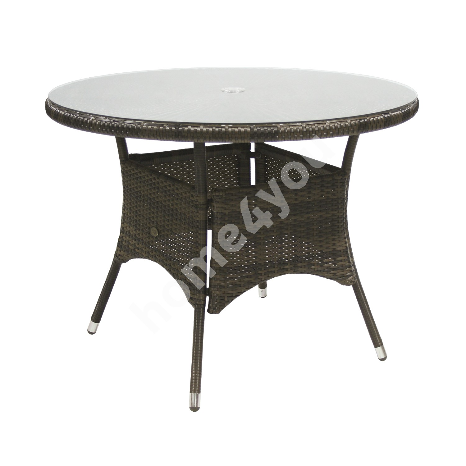 Table WICKER D100xH71cm, table top: clear glass, aluminum frame with plastic wicker, color: dark brown