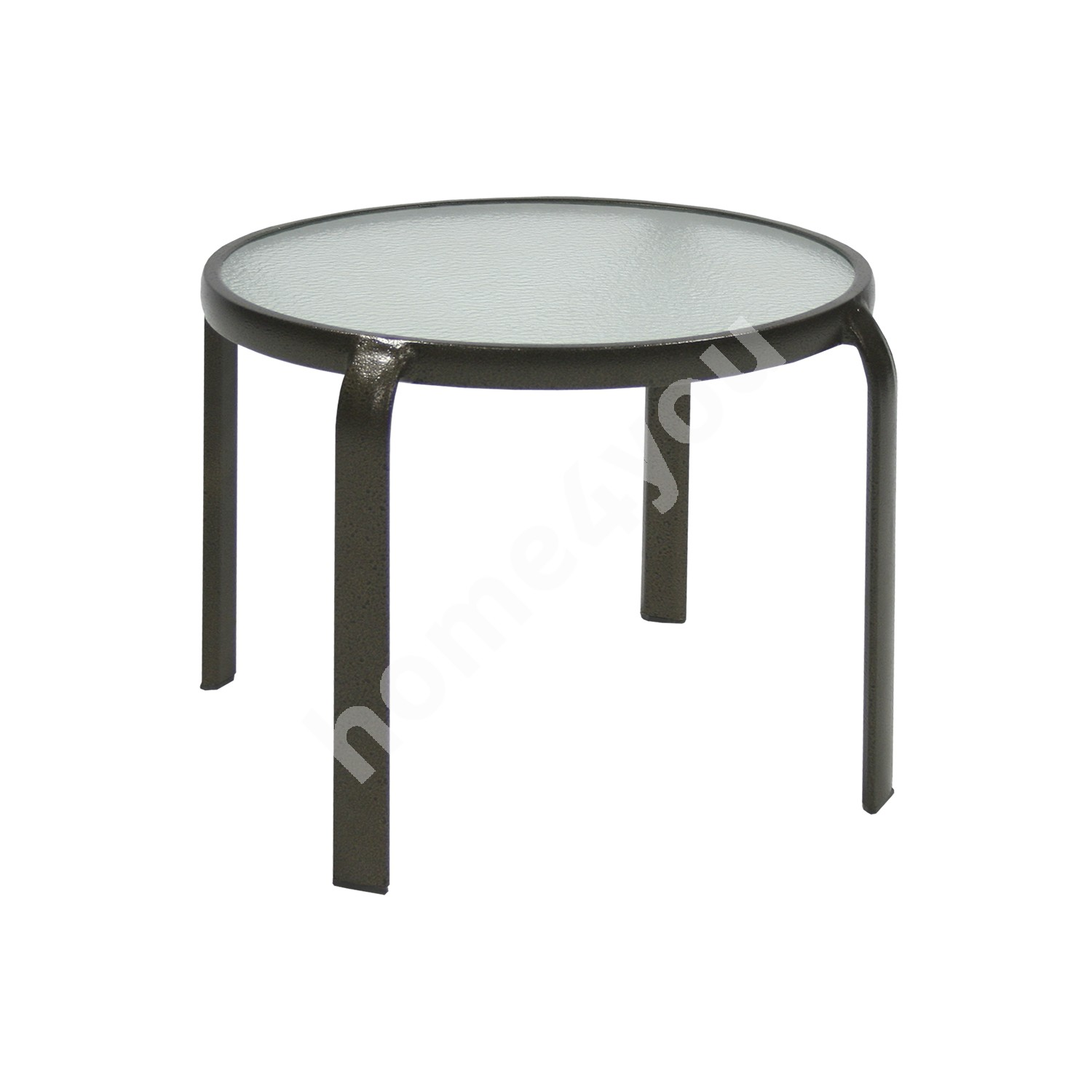 Side table MONTREAL D52xH43cm, table top: tempered glass, aluminum frame, color: brown