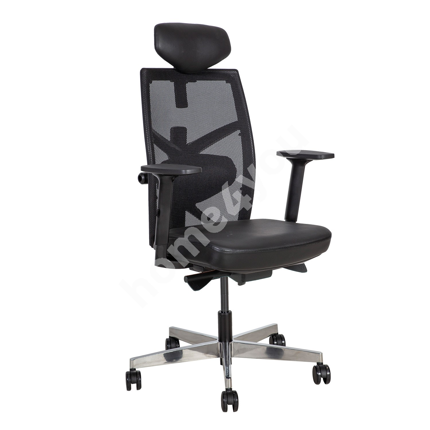 Task chair TUNE 70x70xH111-128cm, seat: leather, back rest: mesh fabric, color: balck