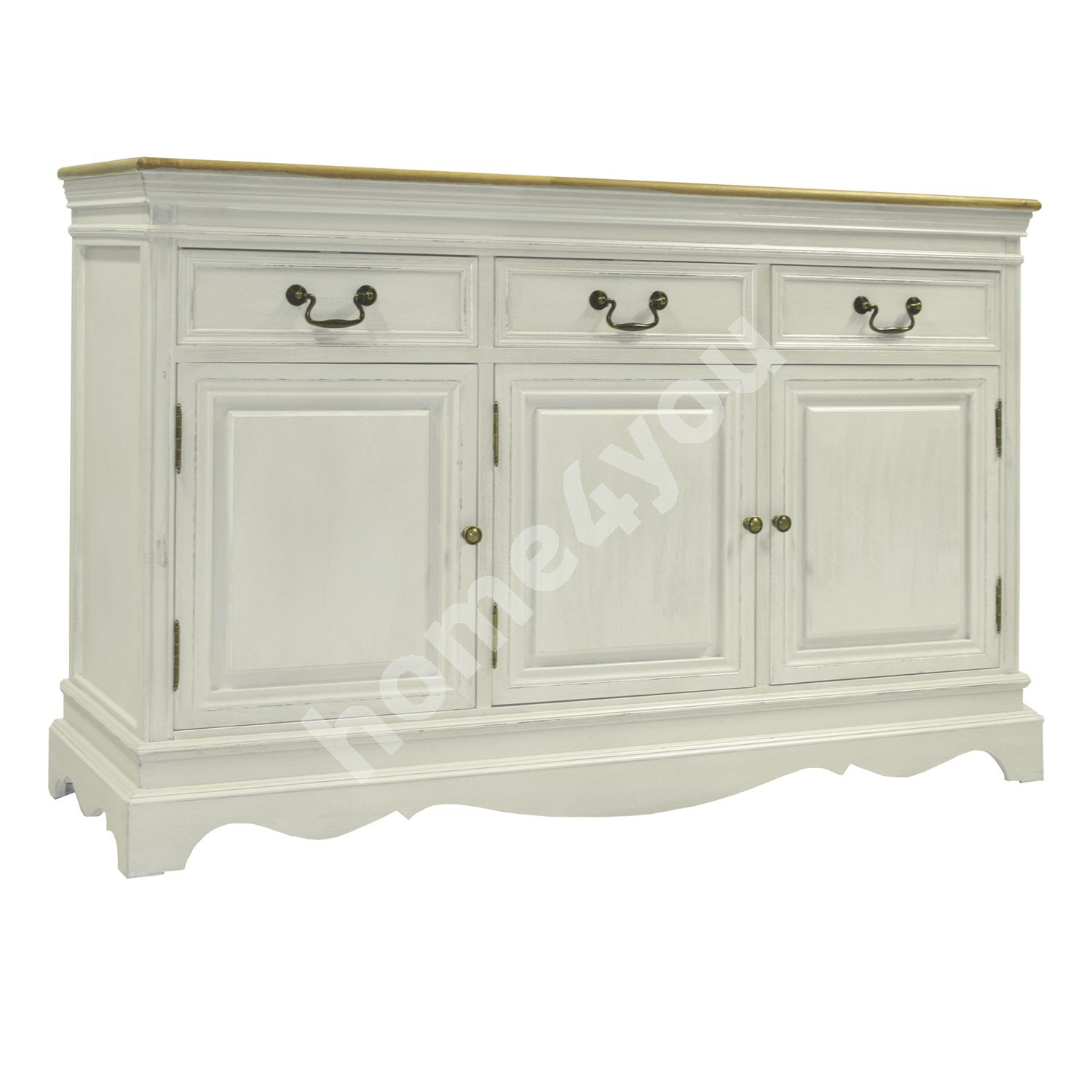Sideboard SAMIRA with 3-doors and 3-drawers, 131,5x43xH87cm, color: antique white / brown