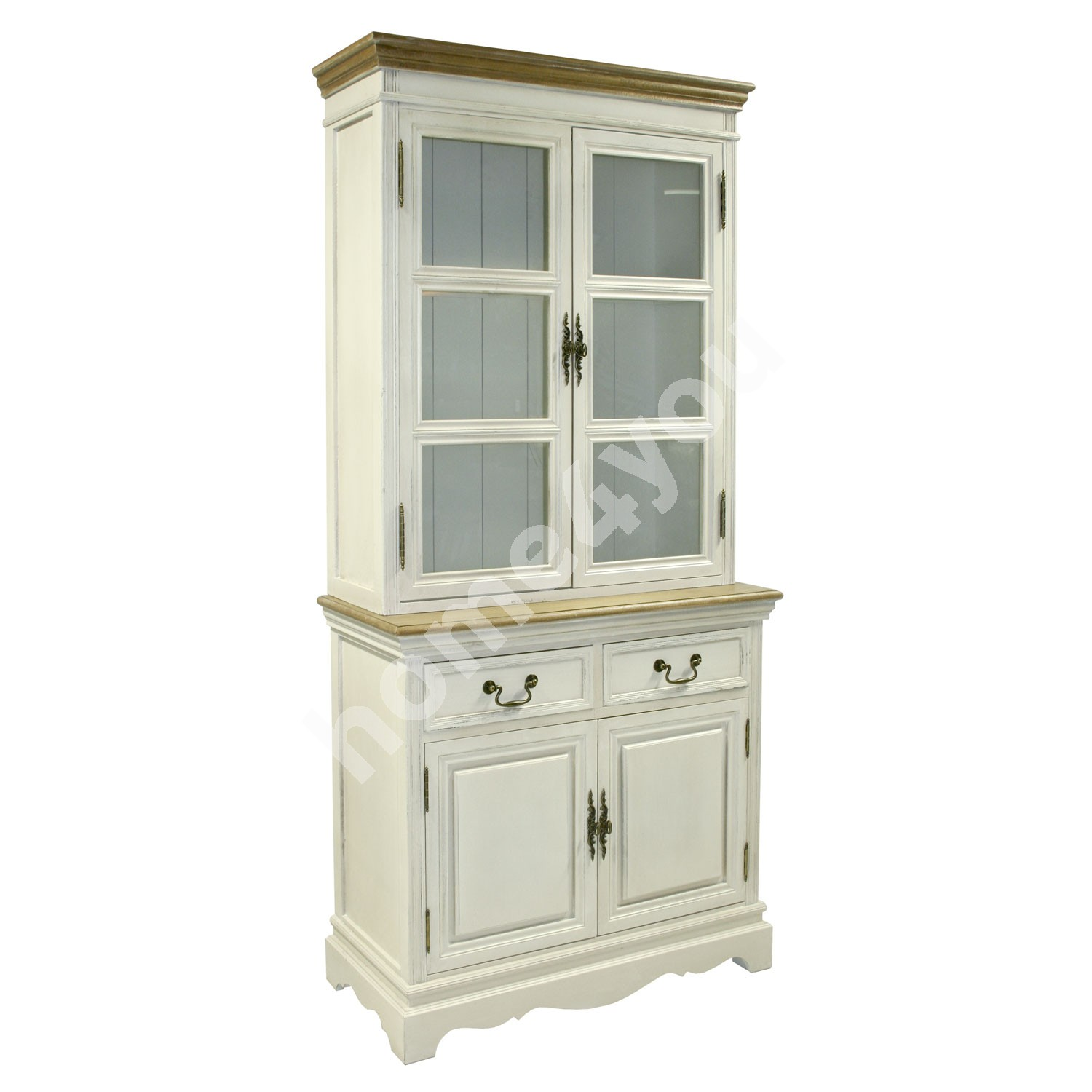 Cabinet SAMIRA with 4-doors and 2-drawers, 85,5x39,5/31xH189,5cm, color: antique white / brown