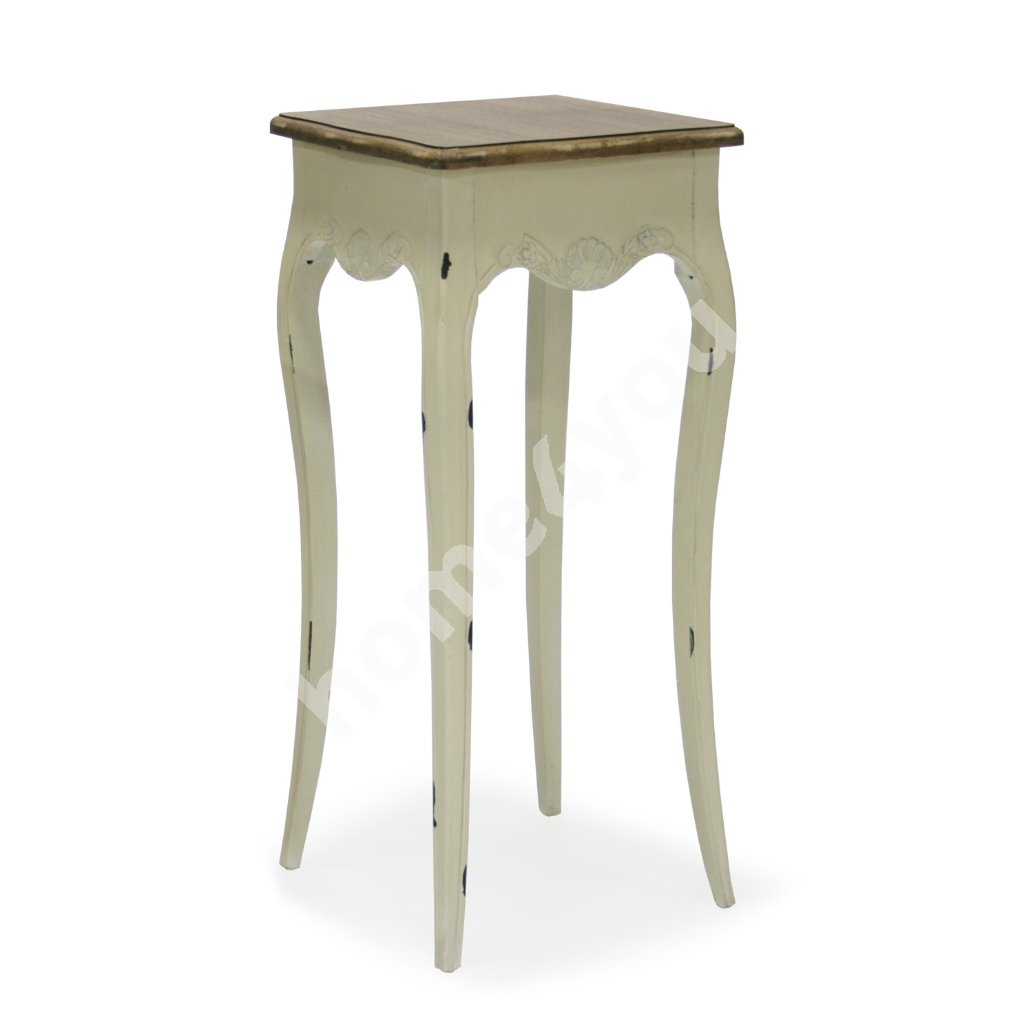 Flower stand SAMIRA-1, 36x36xH81cm, top: MDF, frame and legs: ash, color: antique white / brown