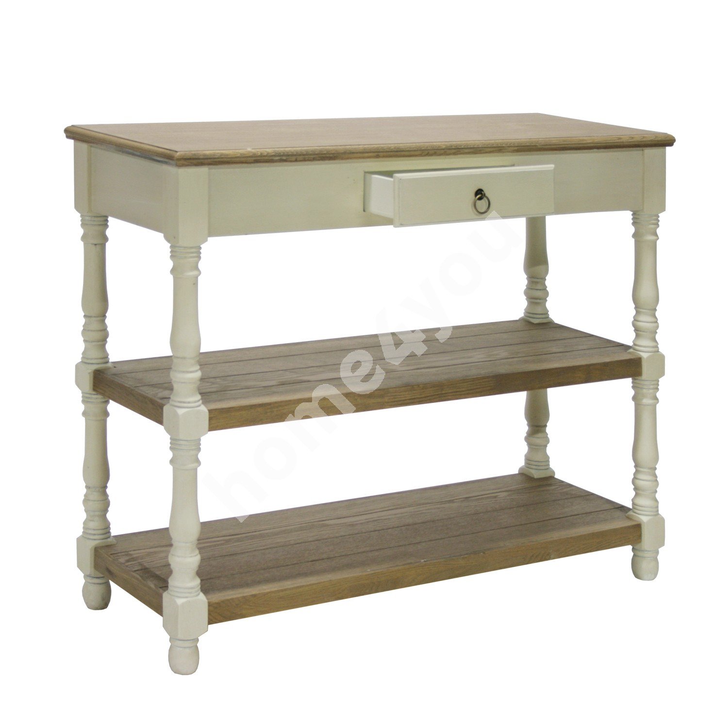 Side table SAMIRA 97x35xH80,5cm, table top: MDF, frame and legs: ash, color: antique white / brown