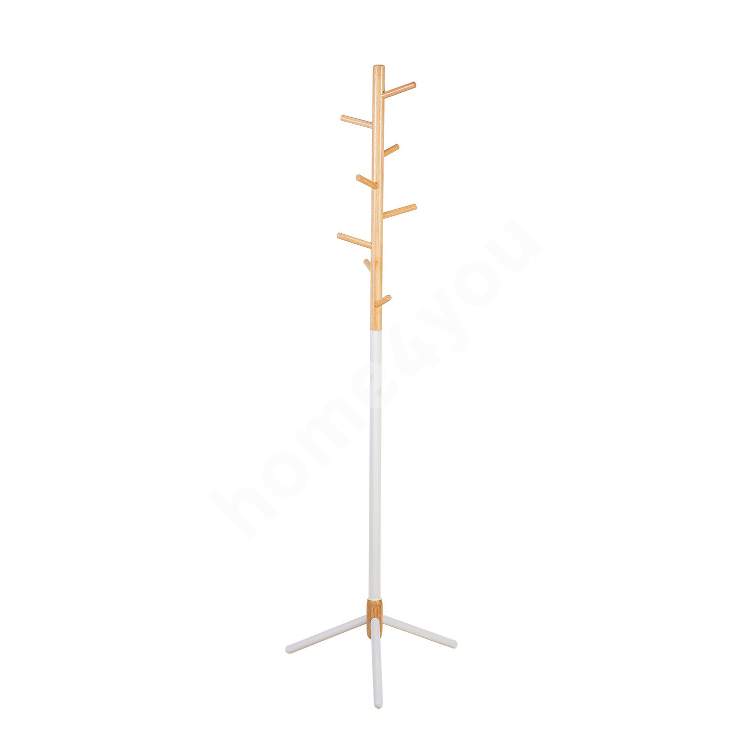 Coat rack FOREST 44x49xH166cm, material: steel / wood, color: white / natural