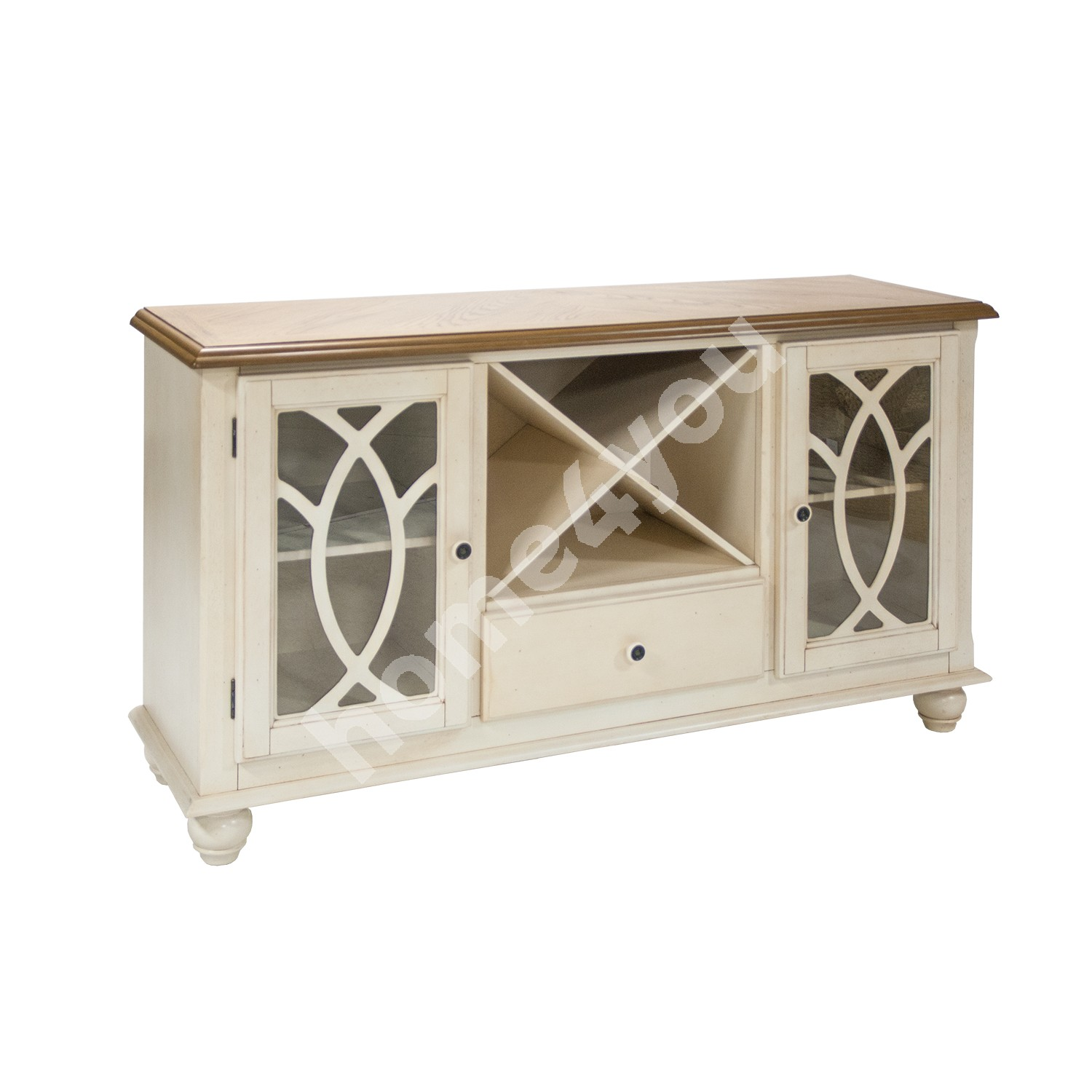 Sideboard LILY 152x46xH84cm, material: oak veneer on MDF, frame: rubber wood, color: oak / antique white