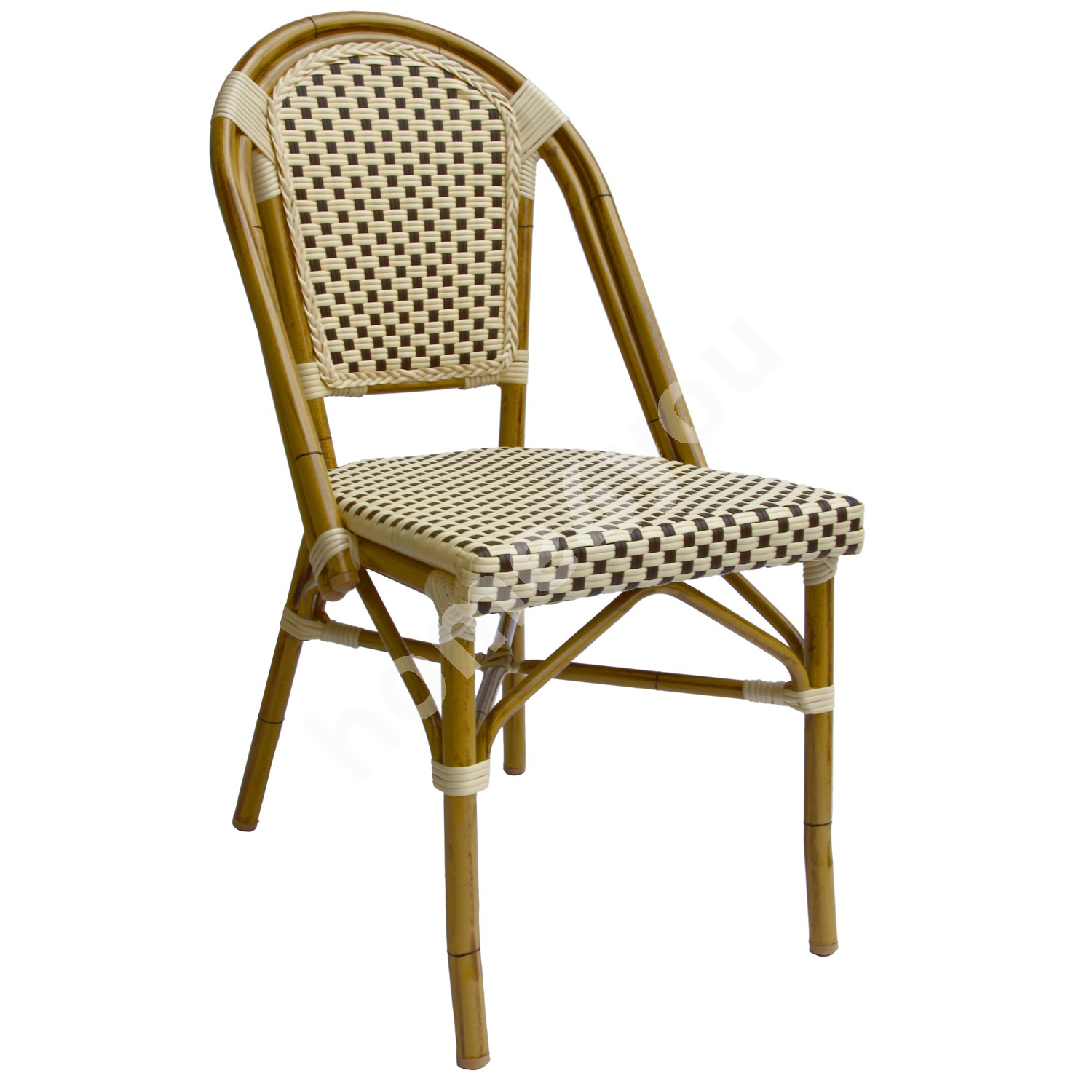 Chair BAMBUS 46x55xH88cm, seat and back rest: plastic wicker, color: brown-beige, frame: bamboo looking aluminum