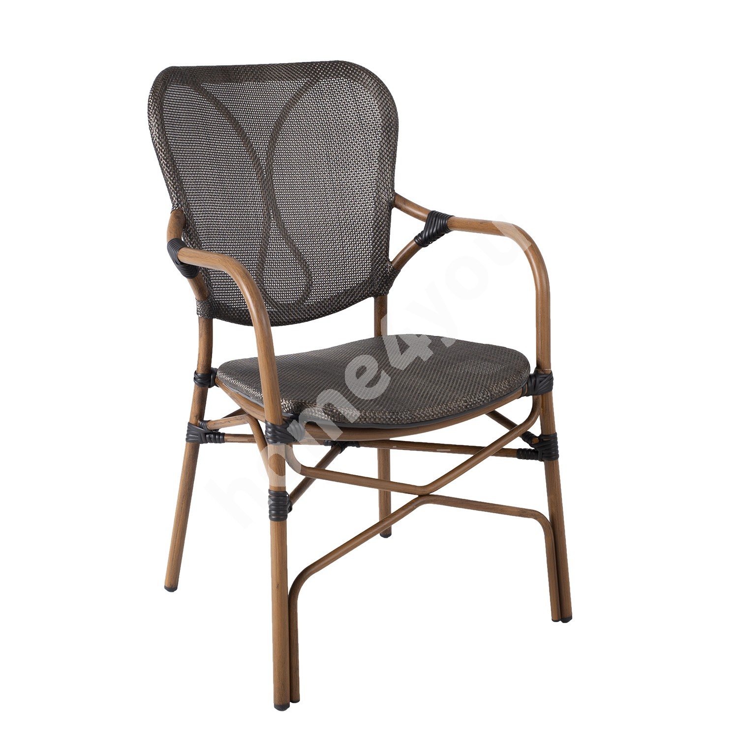 Chair BAMBUS with armrests brown