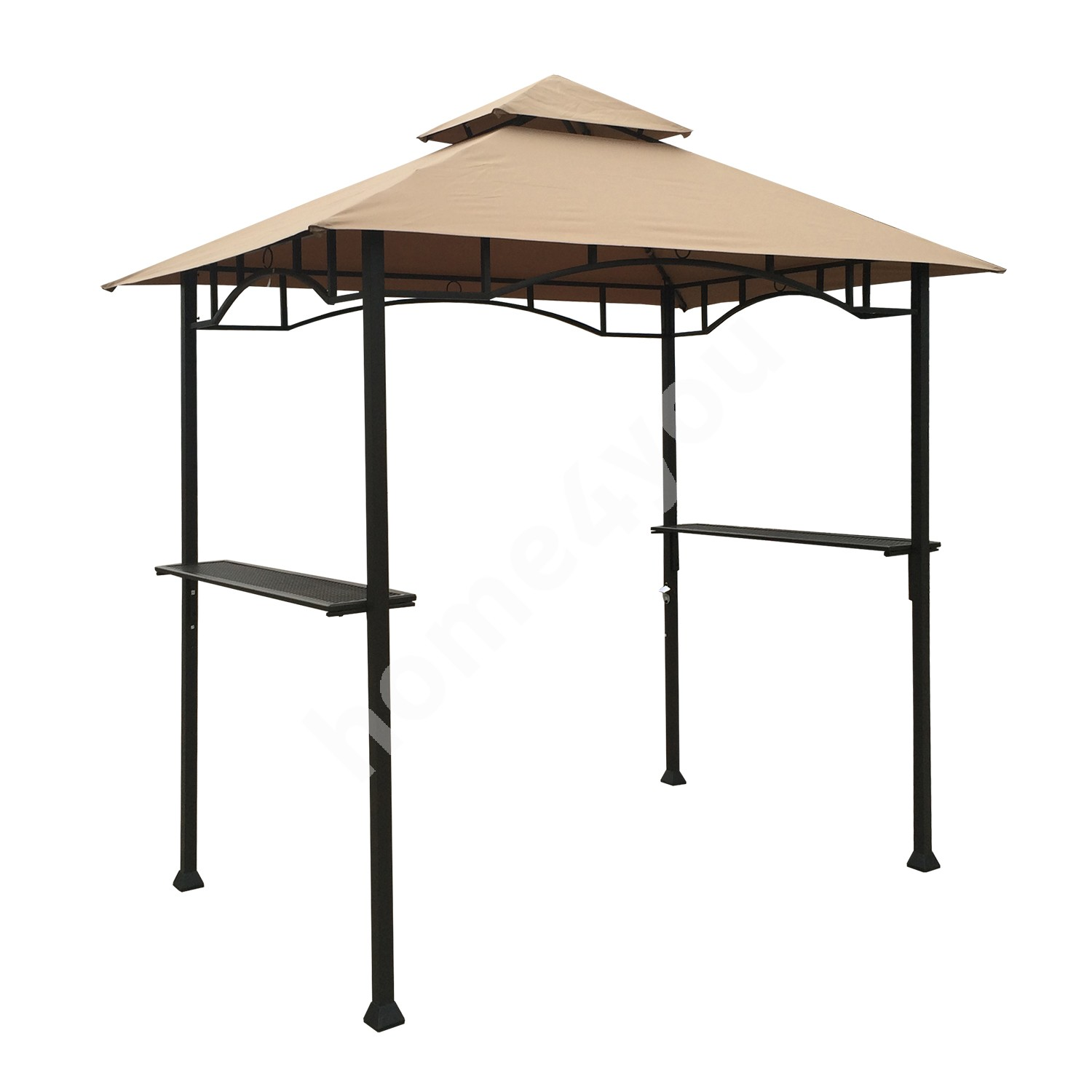 Gazebo BBQ 2,4x1,5m steel frame, color: dark brown, cover: polyester fabric, color: beige