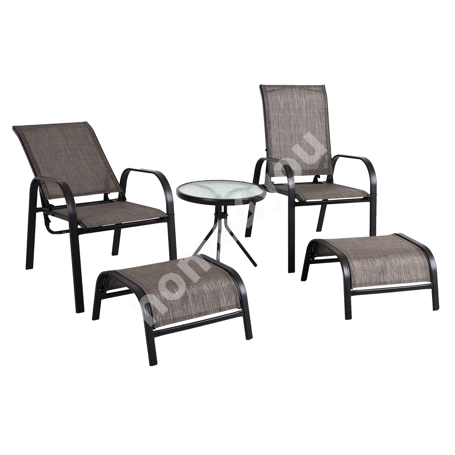Garden furniture set DAKOTA table, 2 chairs with adjustable backrest and 2 foot stools, seats: grey textiline, black ste
