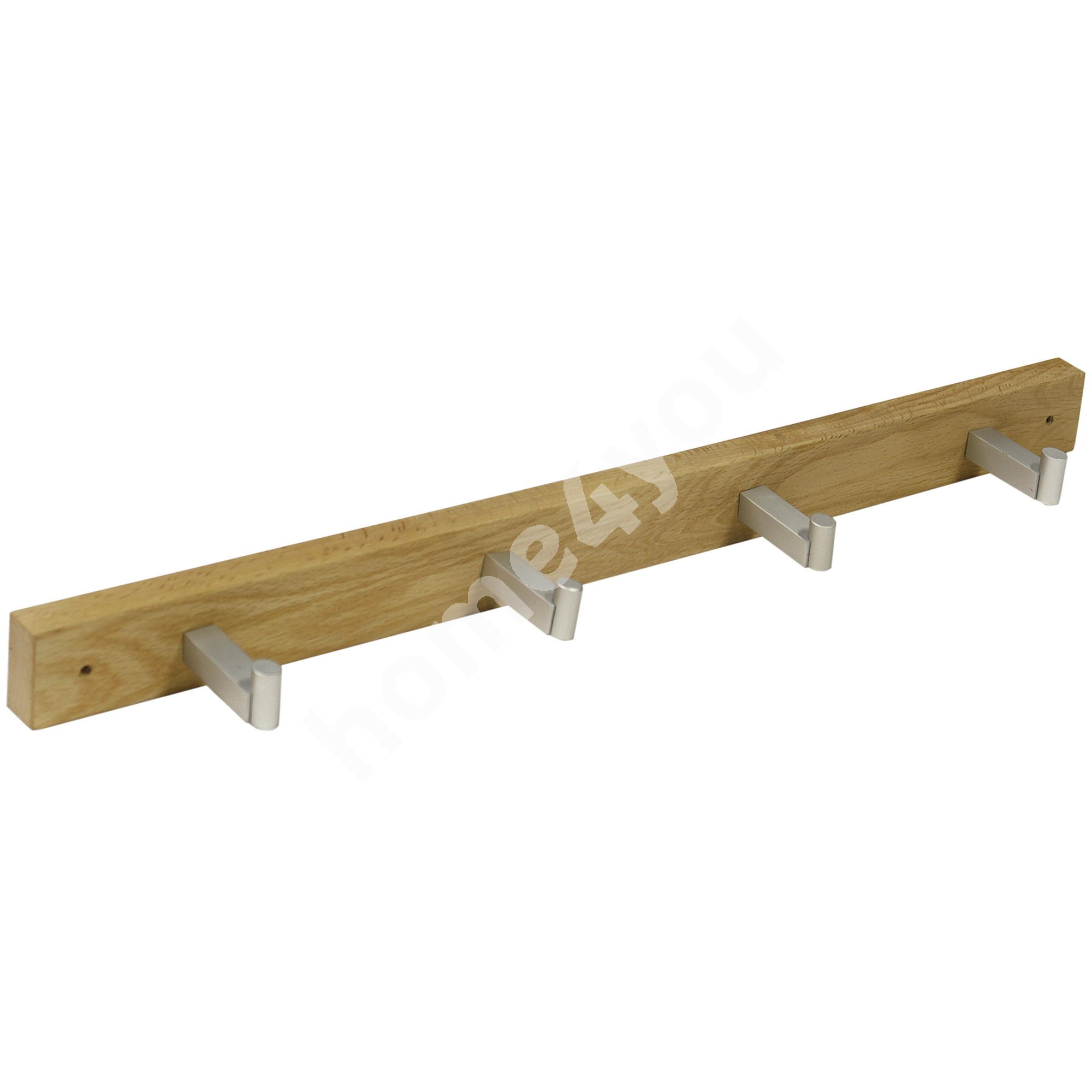 Rack MONDEO with 4-knobs, 51,5x4,5cm, wood: oak, finish: oiled