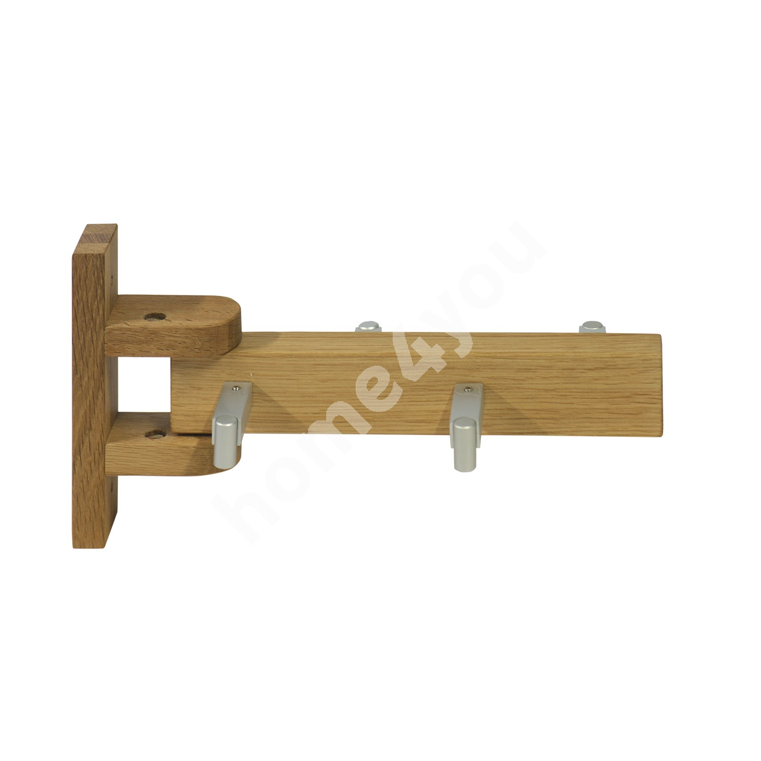 Wall rack MONDEO 26,5xH14cm, with 4 hooks, wood: oak, finish: oiled