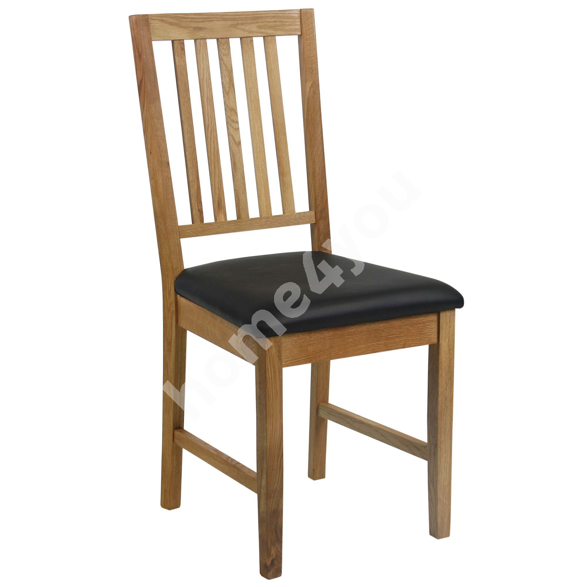 Chair GLOUCESTER 43xD42xH94cm, seat: imitation leather, color: black, wood: oak, finishing: oiled