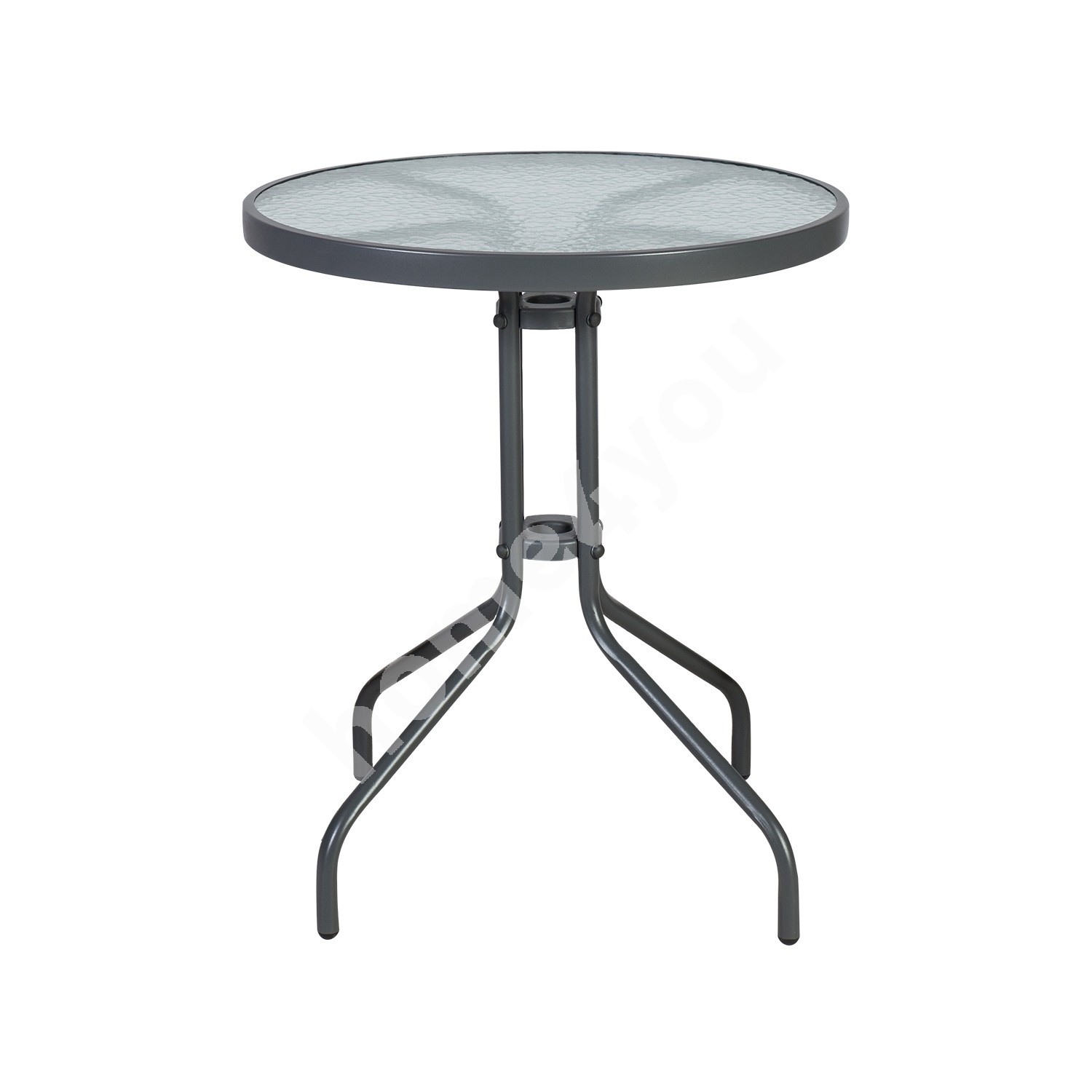 Table BISTRO D60xH70cm, table top: clear tempered wave glass, metal frame, color: grey