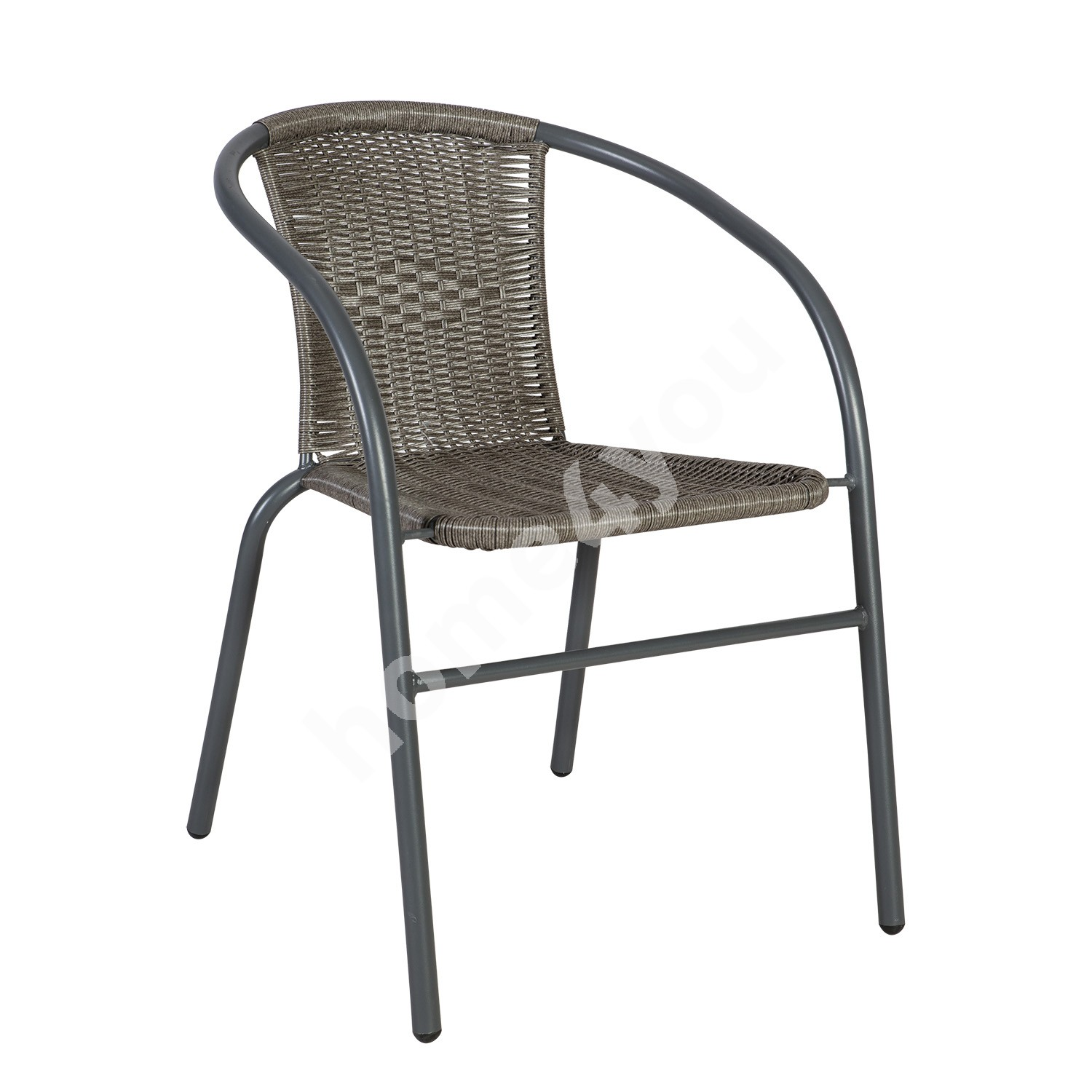 Chair BISTRO 52x58xH72cm, seat and back rest: plastic wicker, steel frame: color: grey