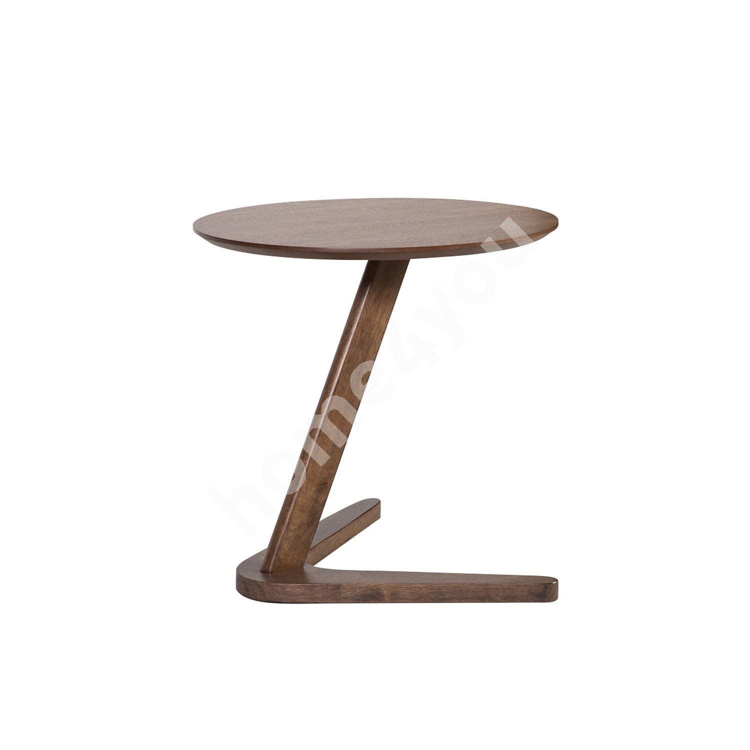 Side table LANA D50xH55cm, table top: MDF with walnut veneer, leg: rubber wood, color: walnut