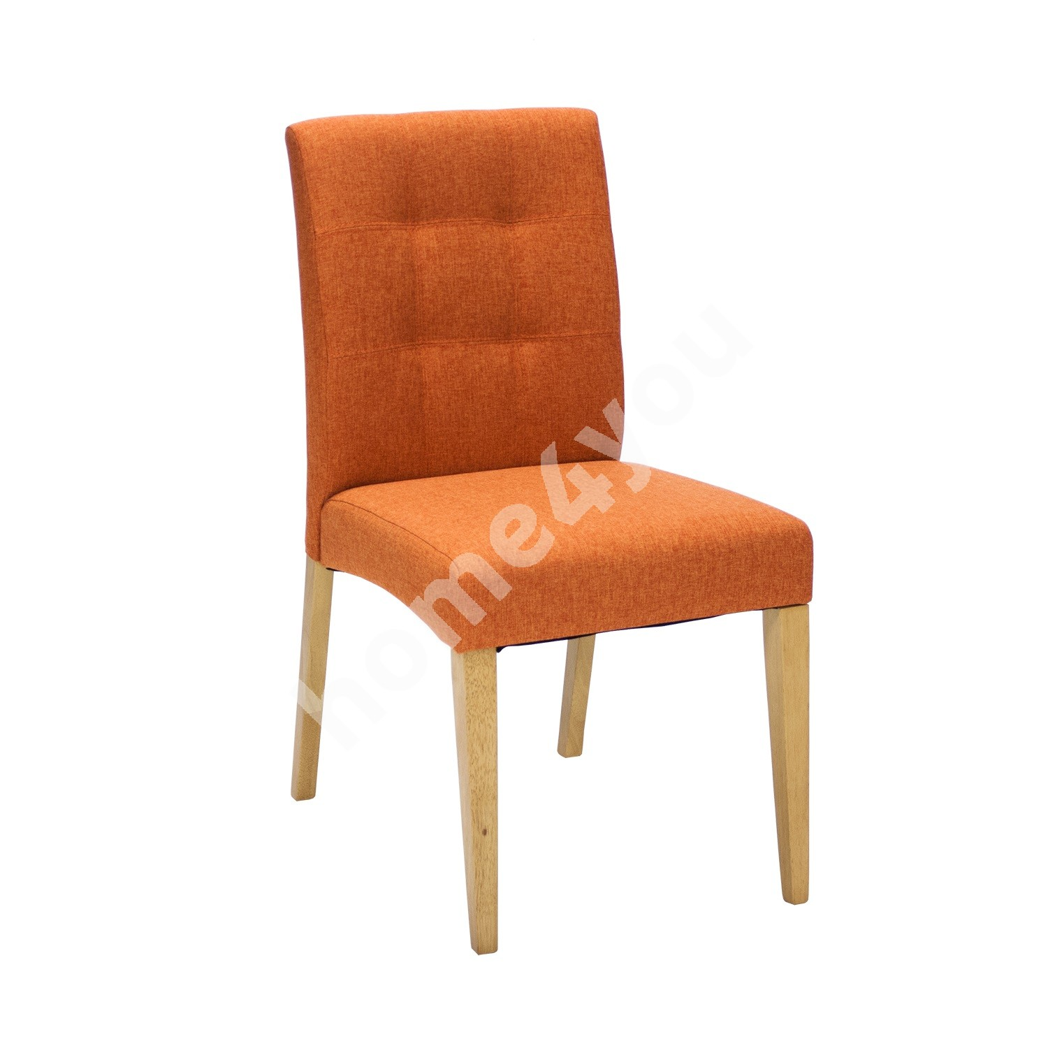 Chair ENRICH 46x57xH87cm, seat and back rest: fabric, color: orange, wood: rubber wood, color: oak, finishing: lacquered